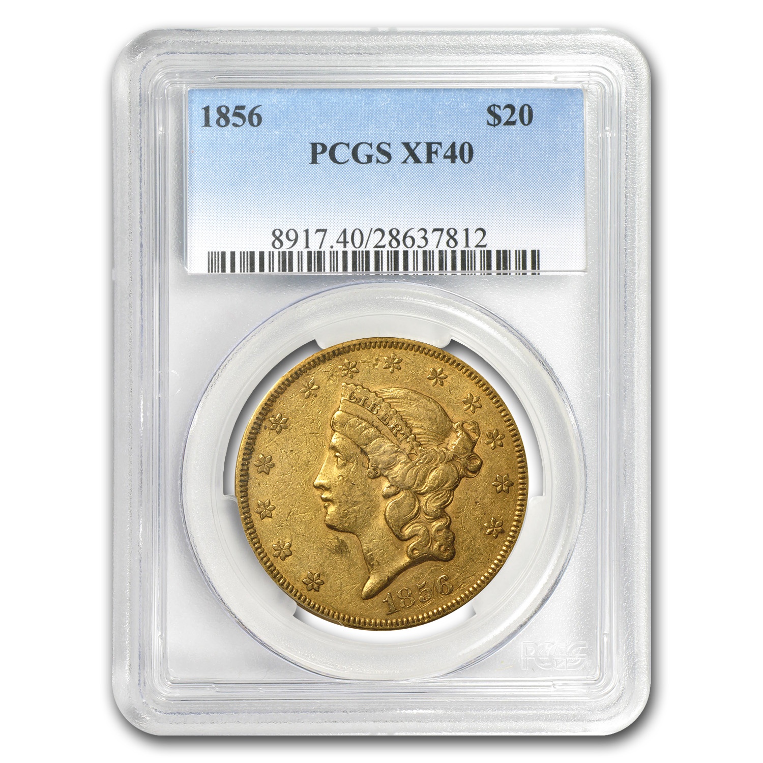 1856 $20 Gold Liberty Double Eagle XF-40 PCGS