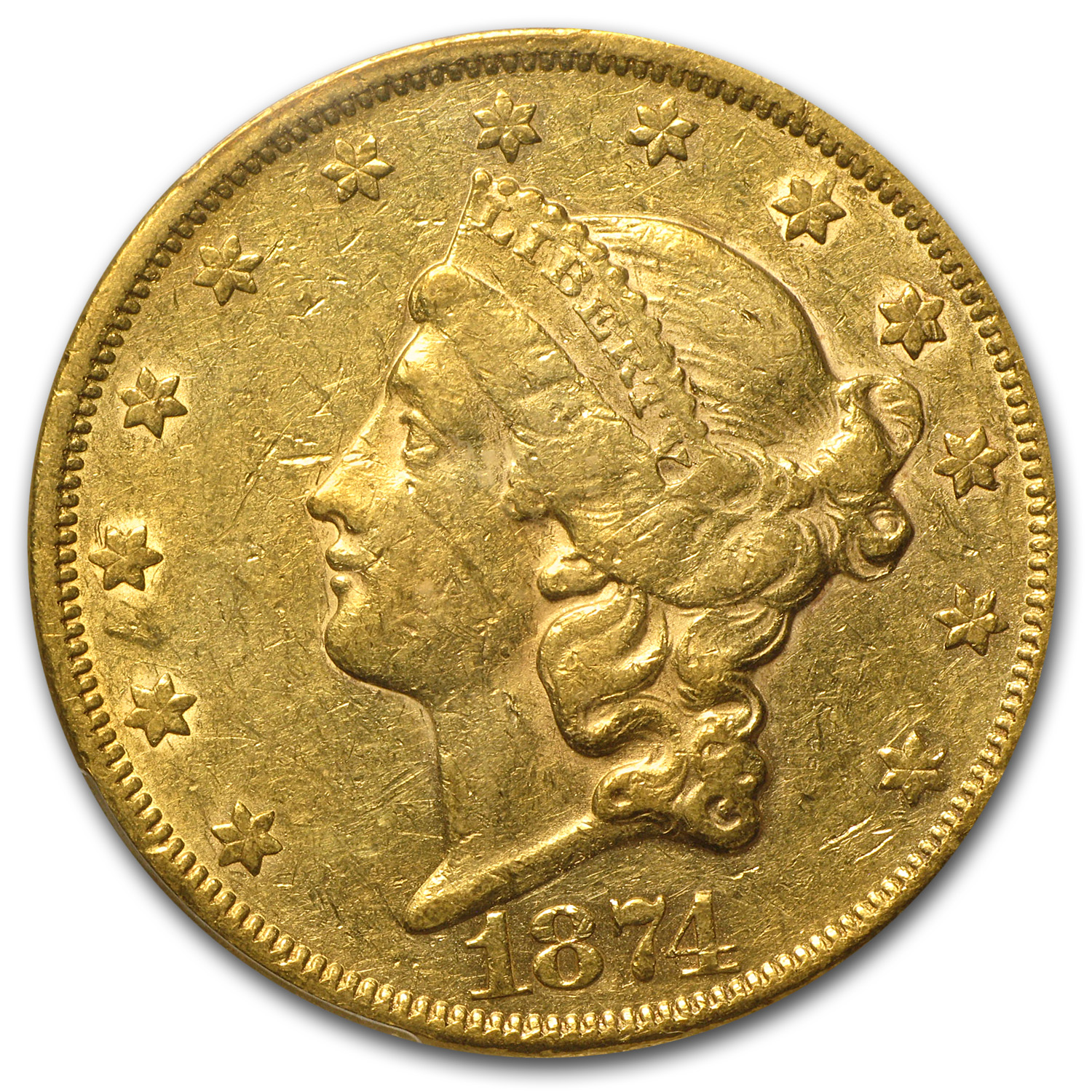 1874 $20 Gold Liberty Double Eagle AU-50 PCGS