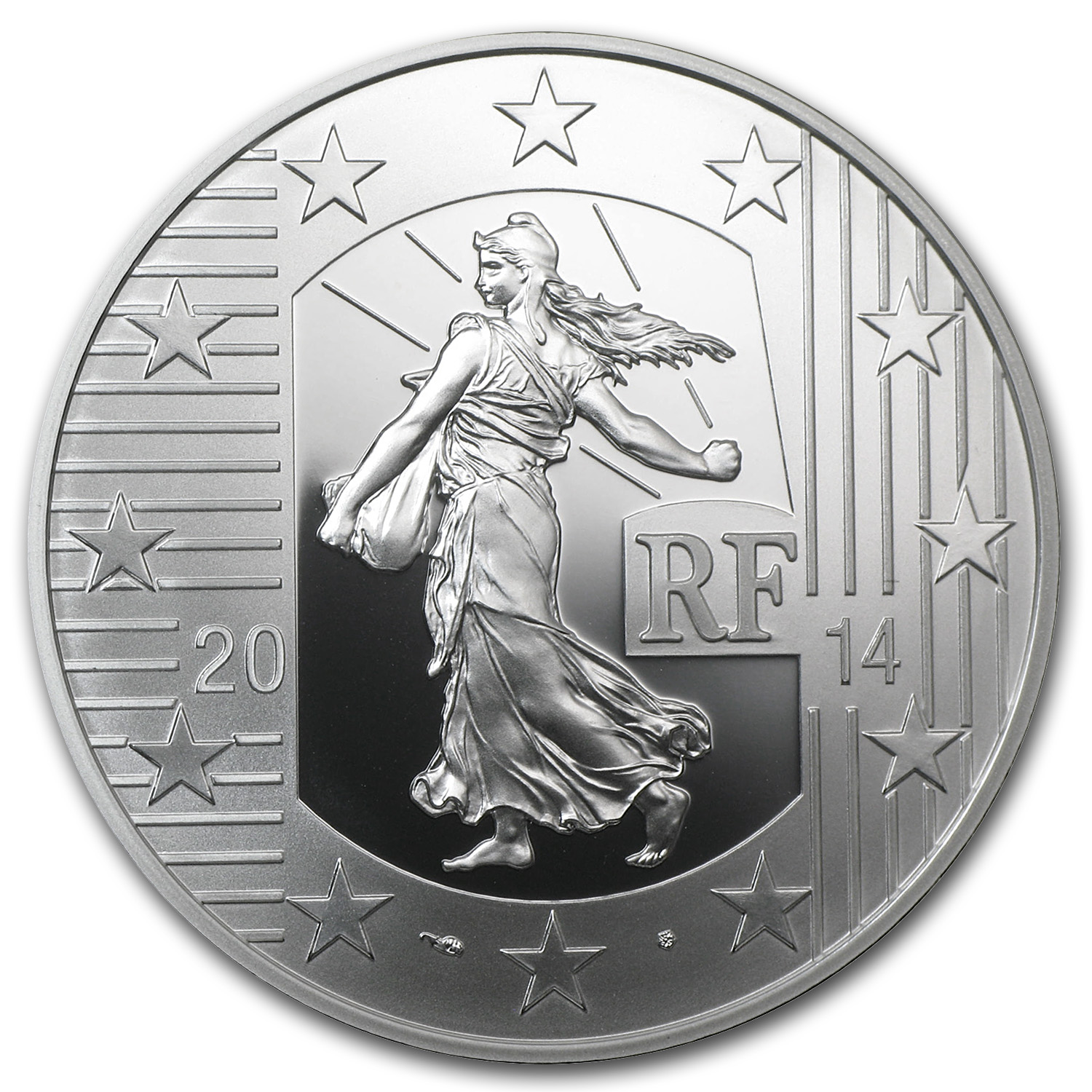 2014 Silver €10 The Sower Series Prf (Denier of Charles the Bald)