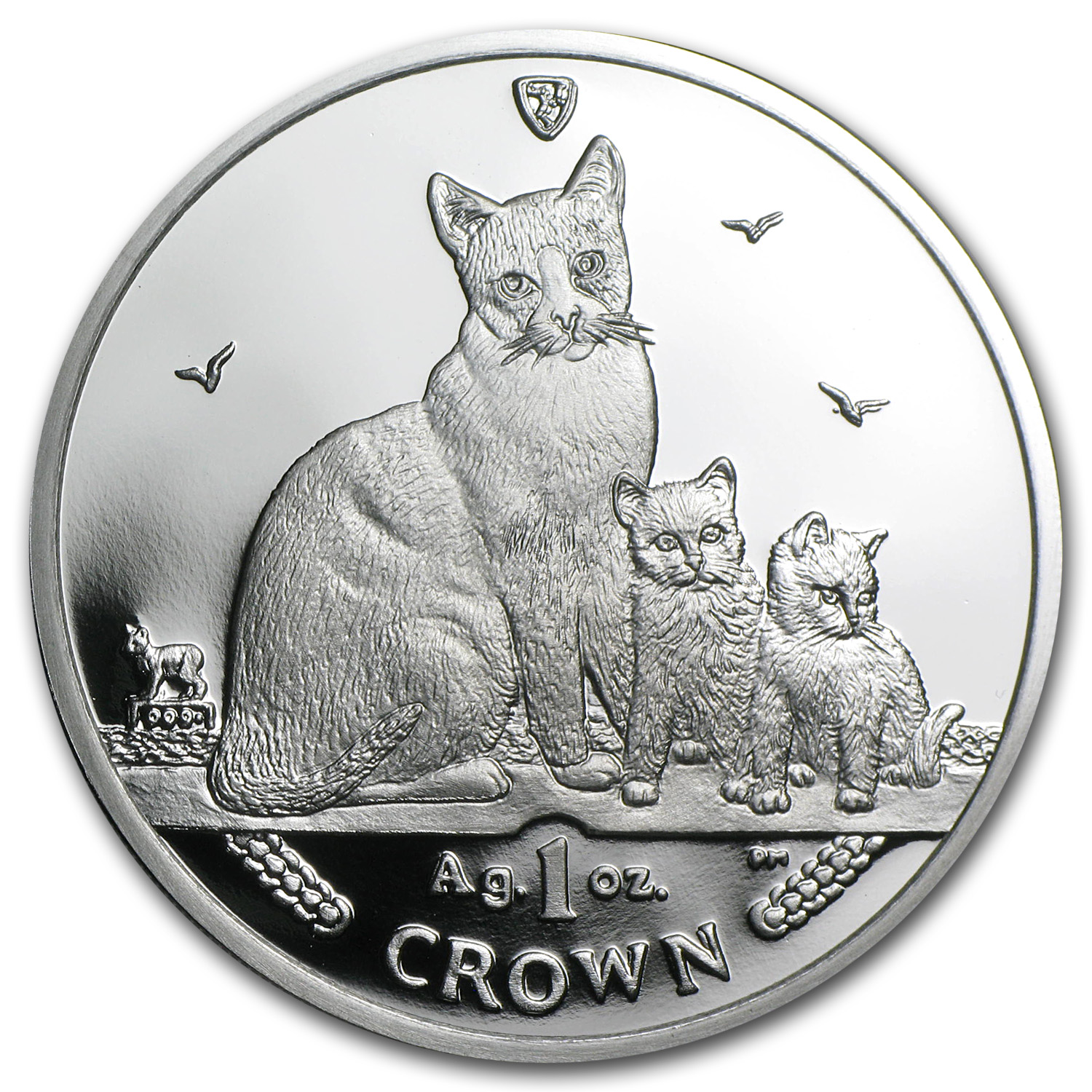 2014 Isle of Man Silver 1 Crown Snowshoe Cat Proof