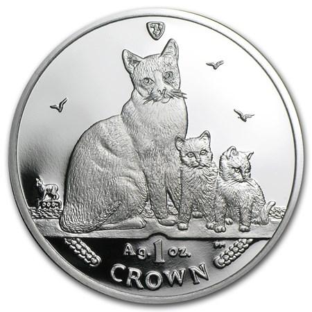 2014 Isle Of Man Silver 1 Crown Snowshoe Cat Proof