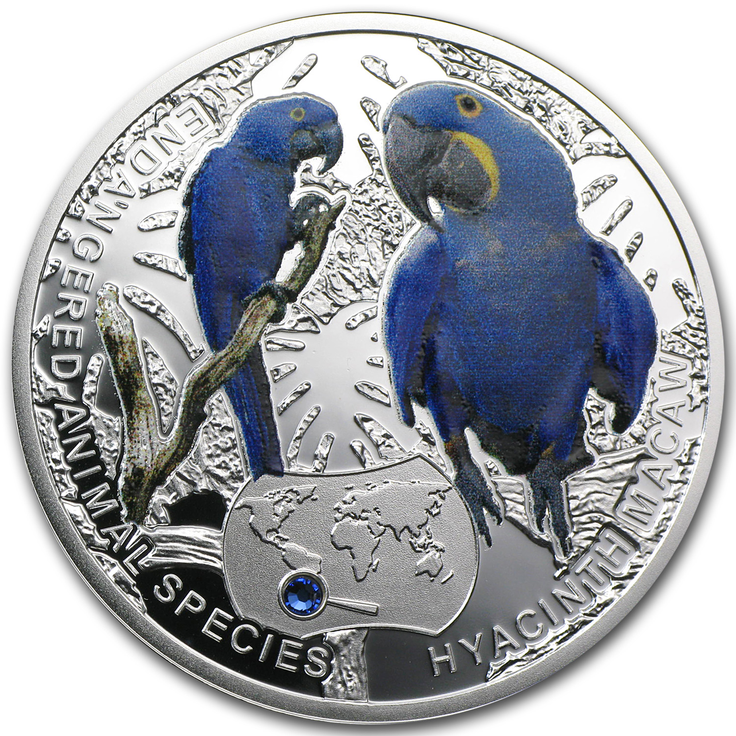 2014 Niue Proof Silver Endangered Animal Species Hyacinth Macaw