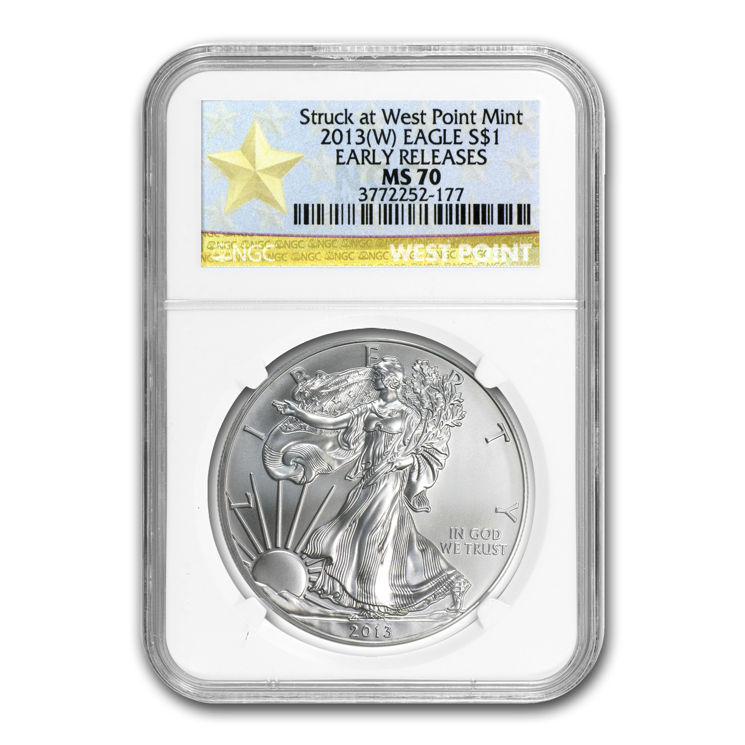 2013 (W) Silver Eagle MS-70 NGC (ER, West Point Star Label)