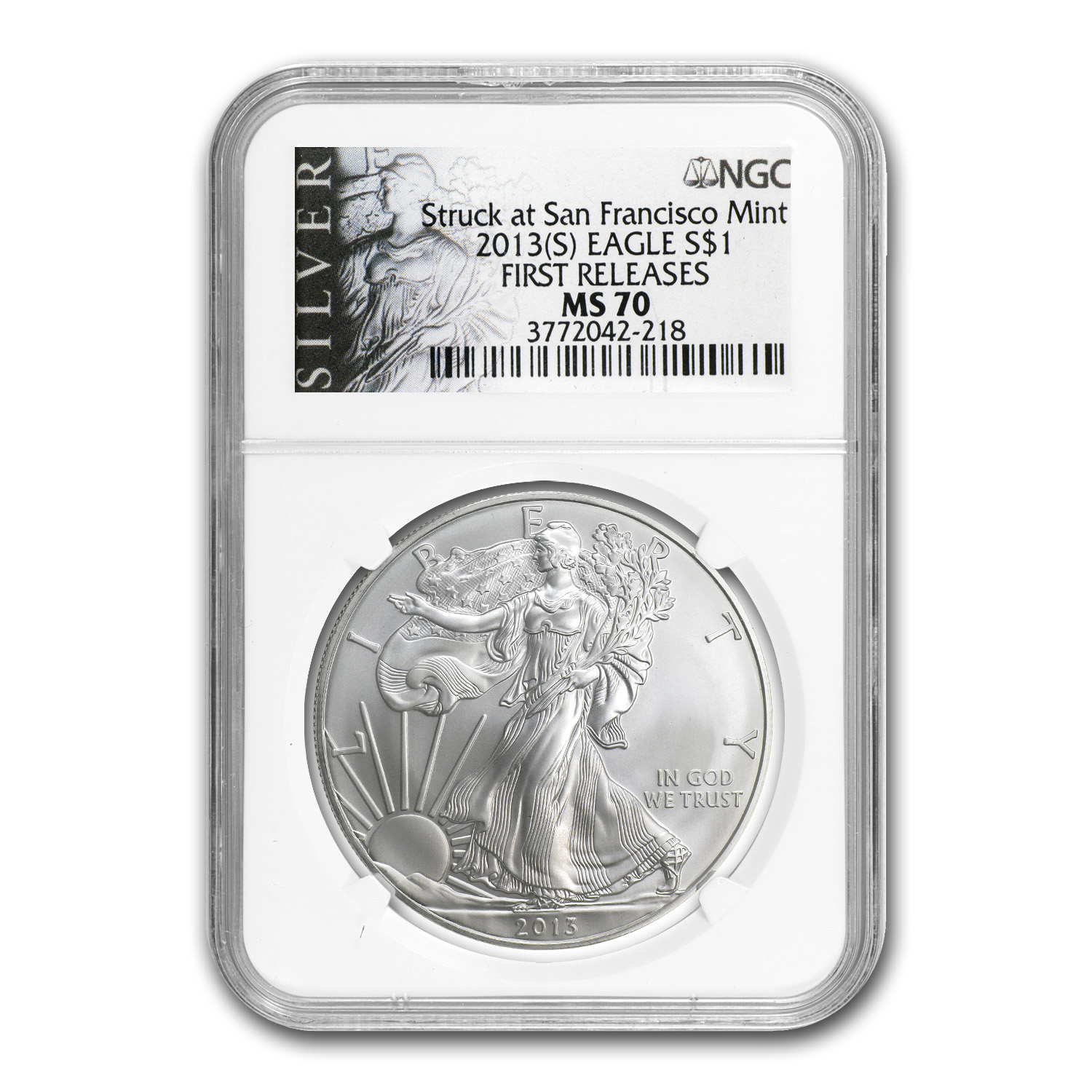 2013 (S) Silver American Eagle MS-70 NGC (FR, ALS Label)
