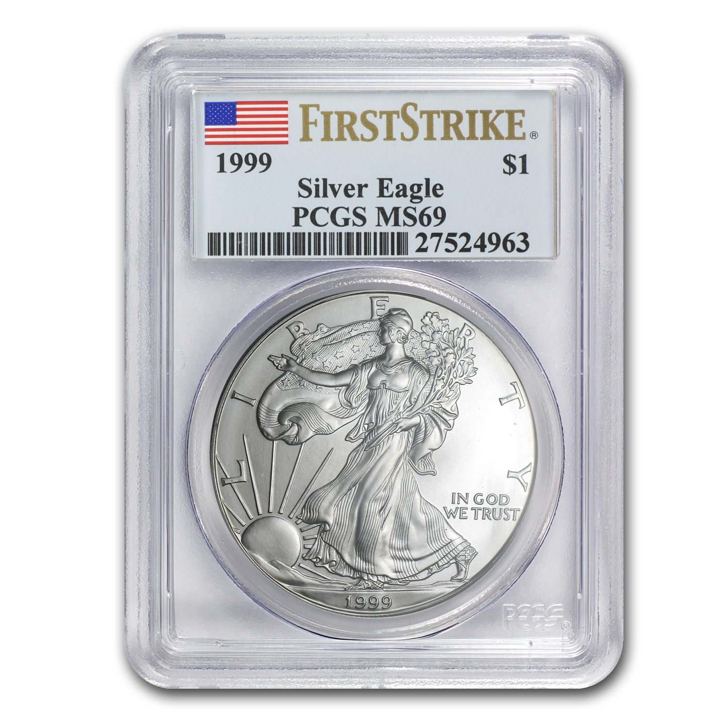 1999 Silver American Eagle MS-69 PCGS (First Strike)