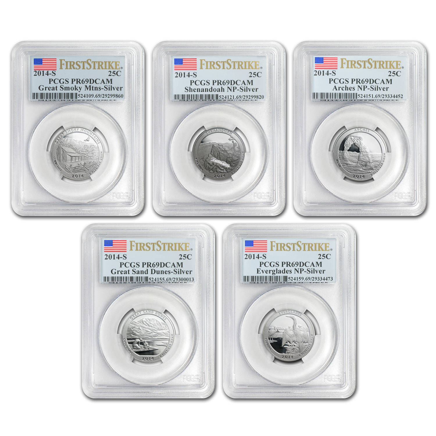 2014-S Silver Proof Quarter ATB PR-69 DCAM (FS) SET
