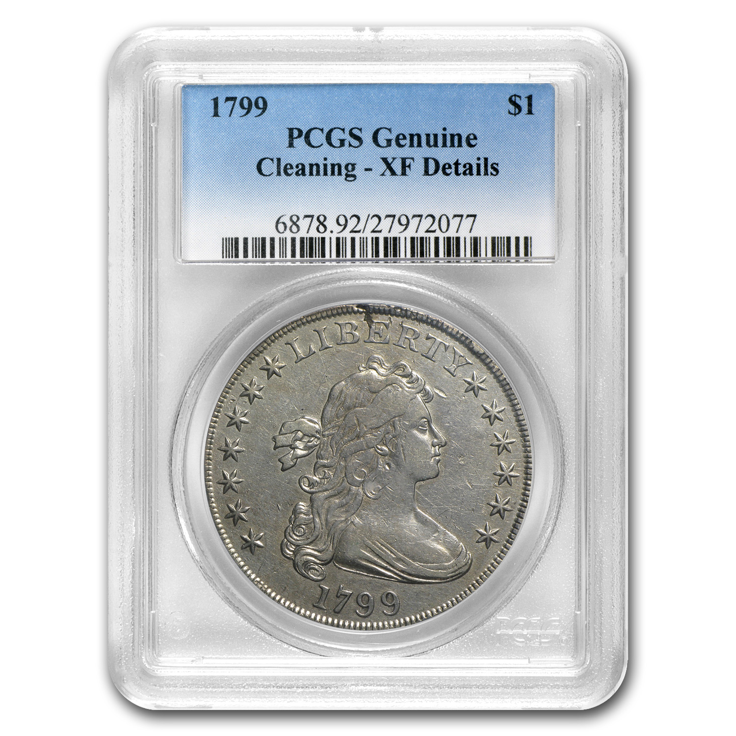 1799 Draped Bust Dollar XF Details PCGS (Cleaned)