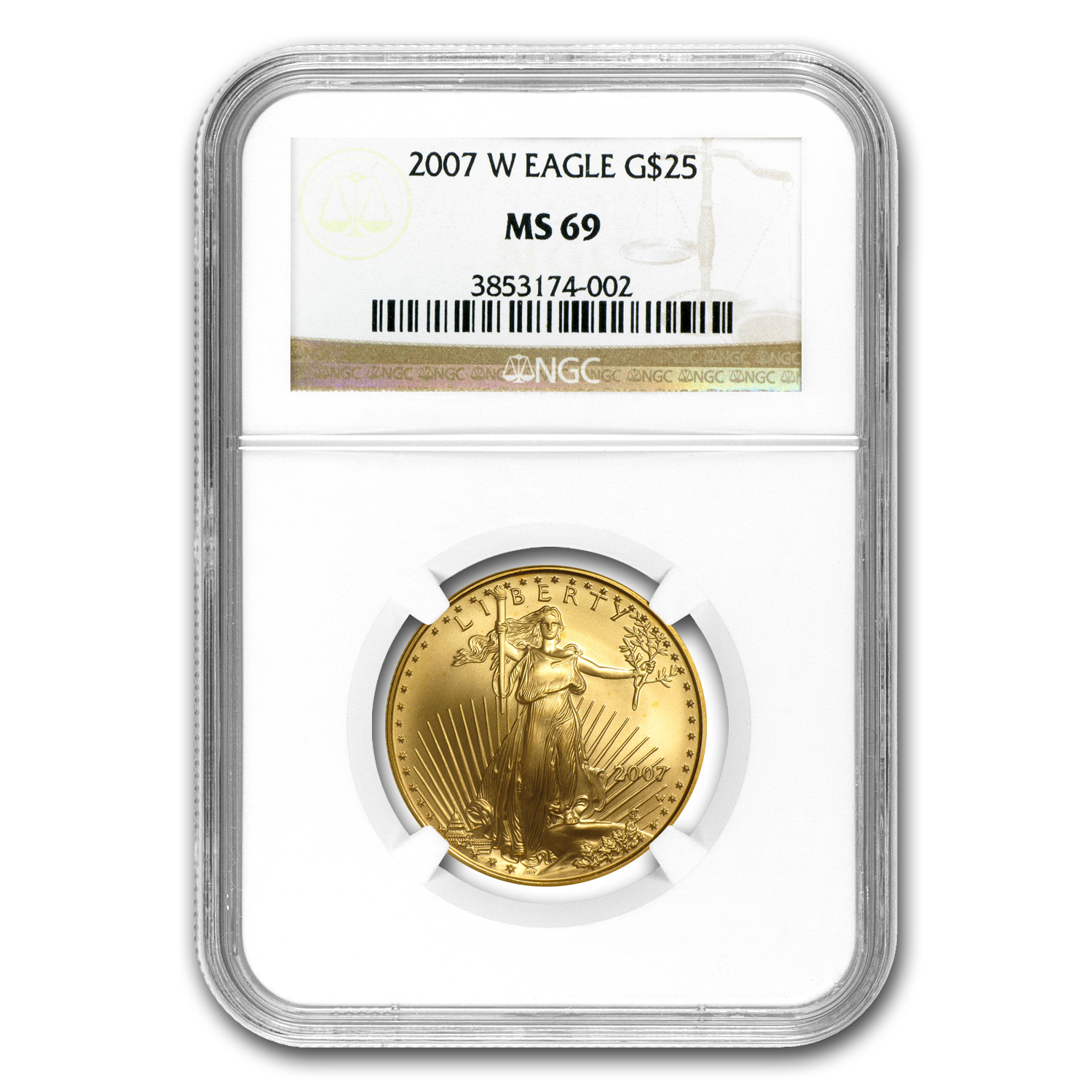 2007-W 1/2 oz Burnished Gold American Eagle MS-69 NGC