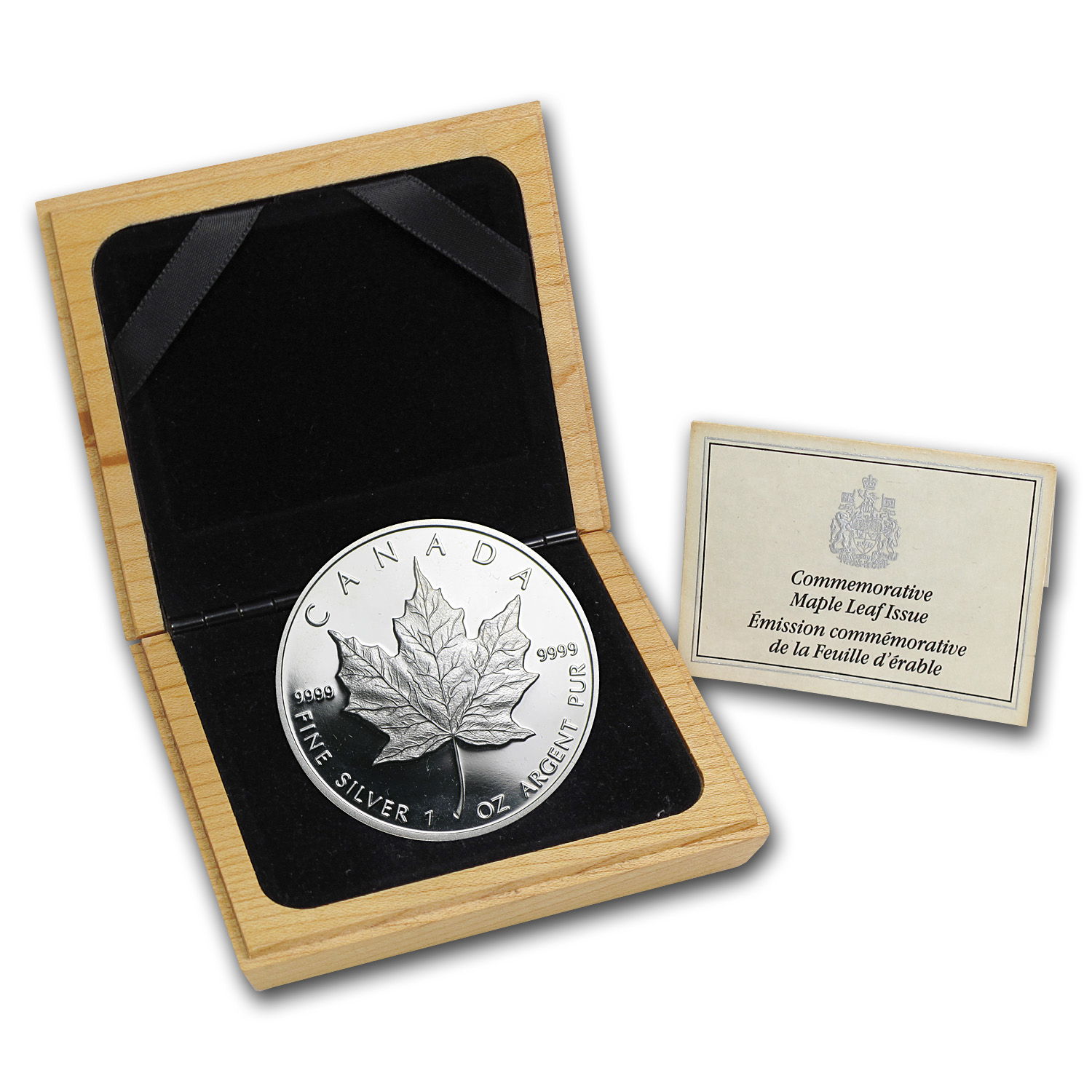 1989 1 oz Proof Silver Canadian Maple Leaf (Abrasions)