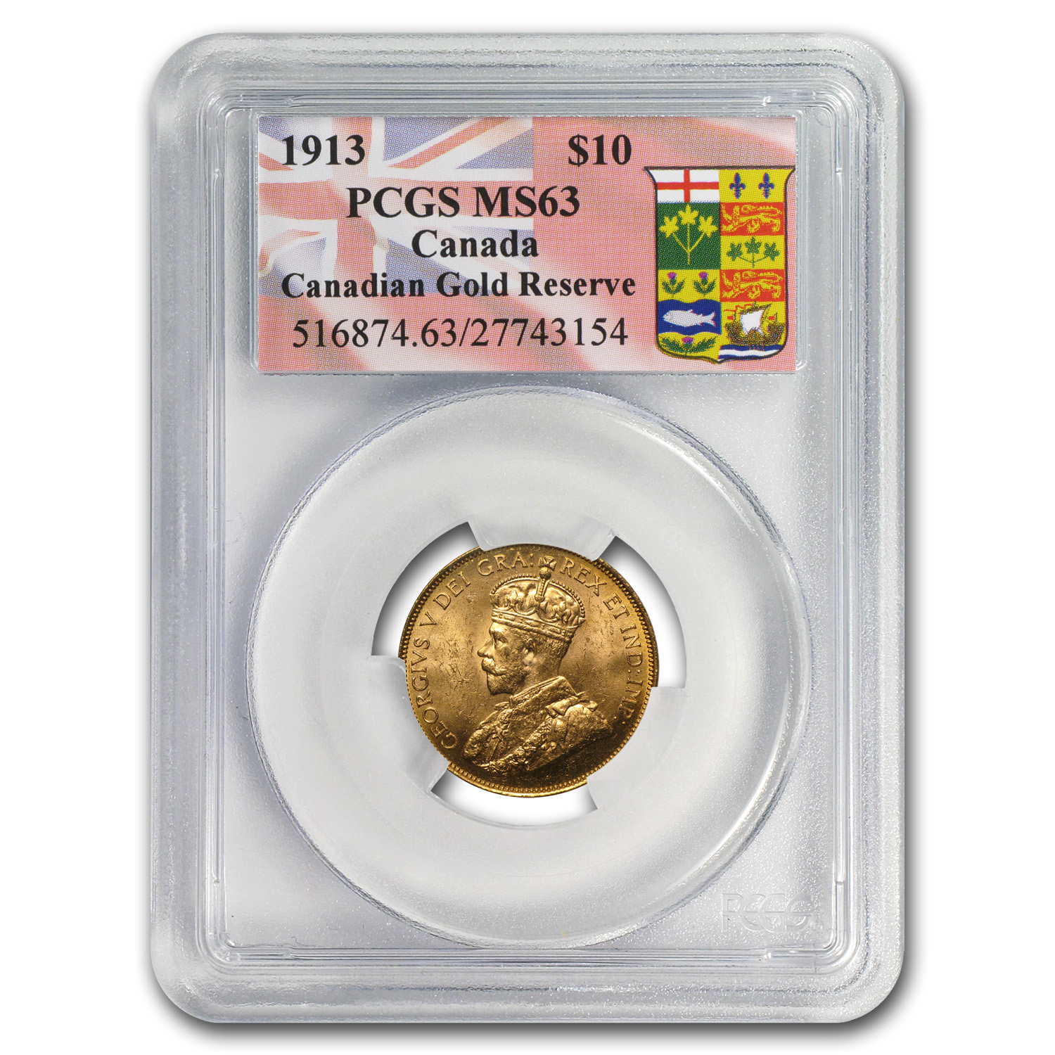Canada 1913 $10 Gold Reserve George V - MS-63 PCGS