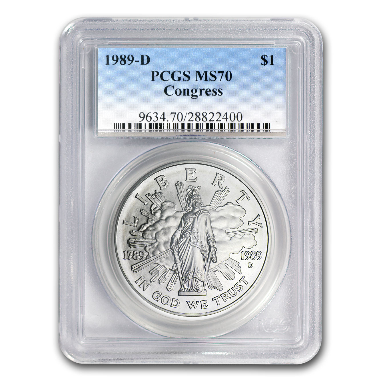 1989-D Congress Bicentennial $1 Silver Commemorative MS-70 PCGS