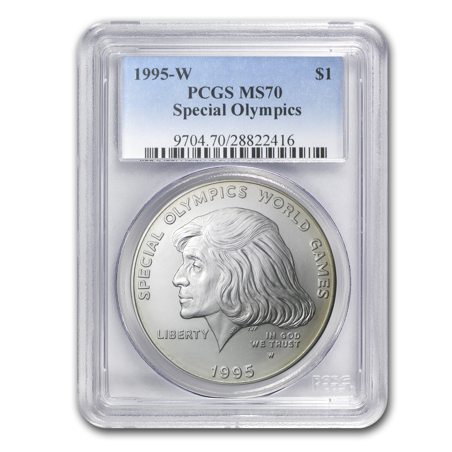 1995-W Special Olympics $1 Silver Commem MS-70 PCGS