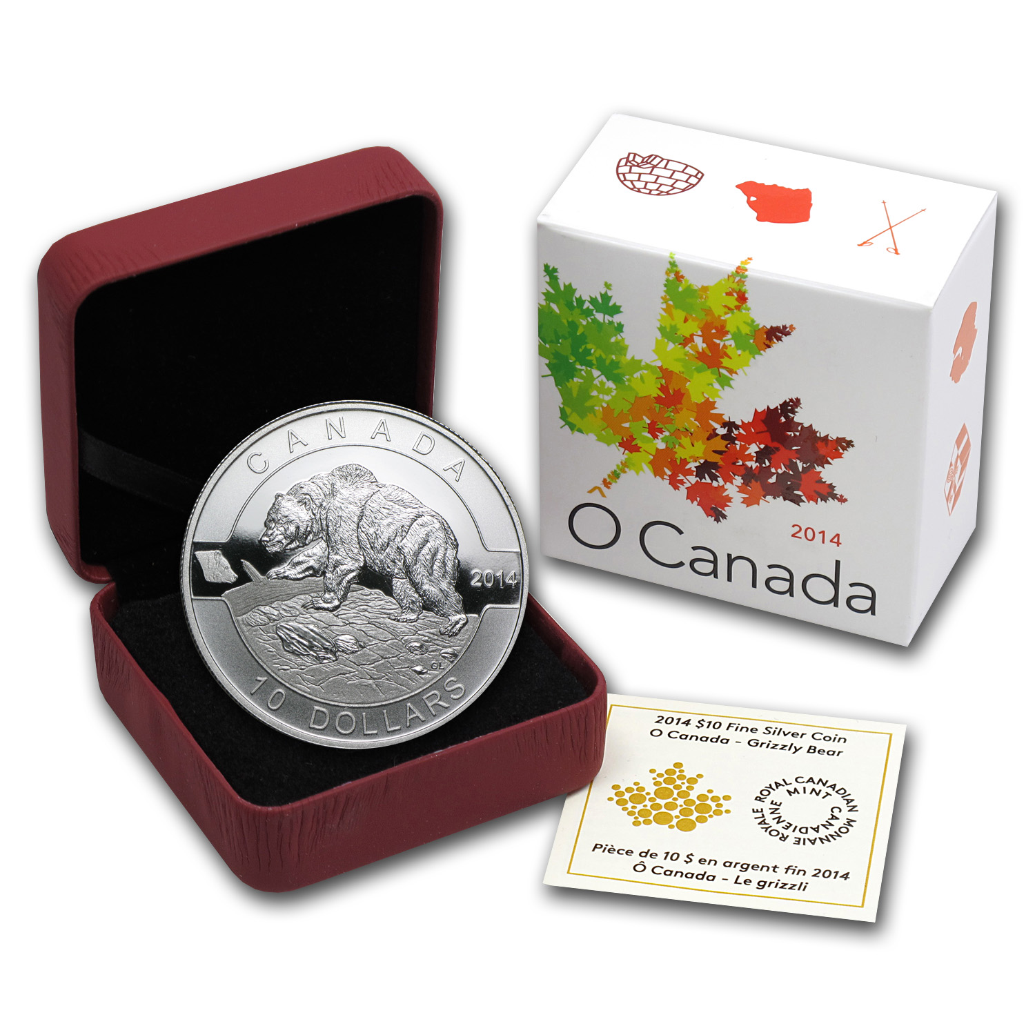 2014 1/2 oz Silver Canadian $10 Grizzly Bear (W/Box & COA)