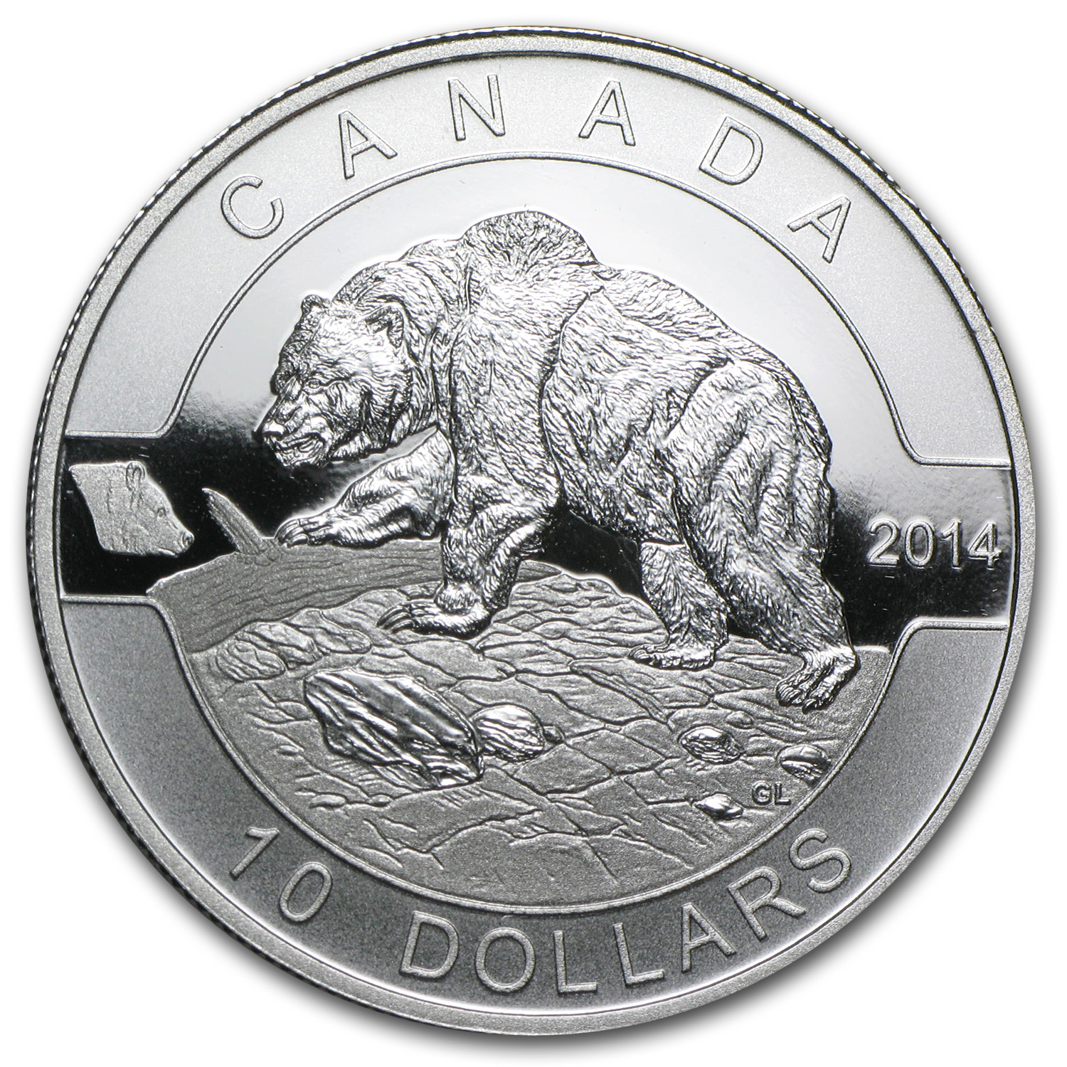 2014 Canada 1/2 oz Silver $10 Grizzly Bear (w/Box & COA)