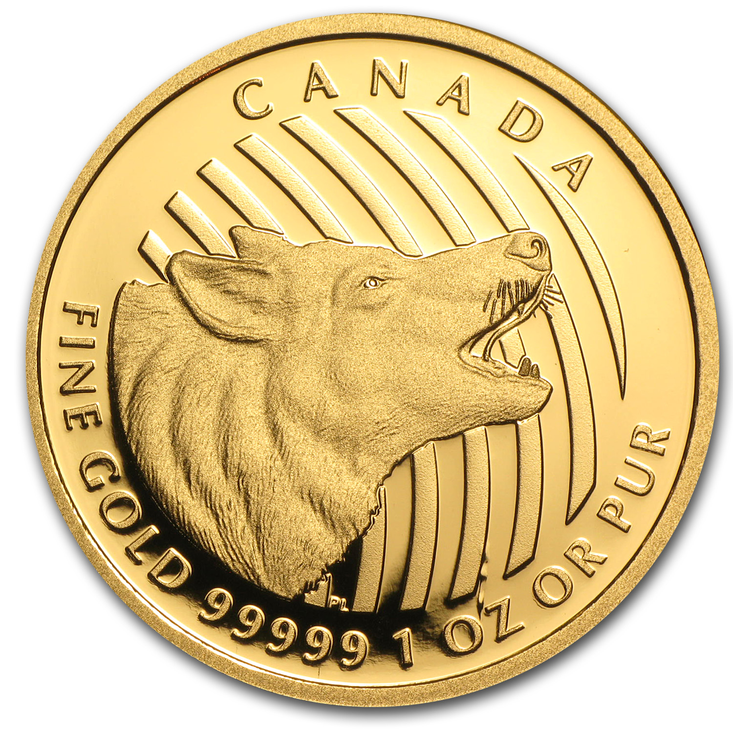 2014 Canada 1 oz Proof Gold $200 Howling Wolf