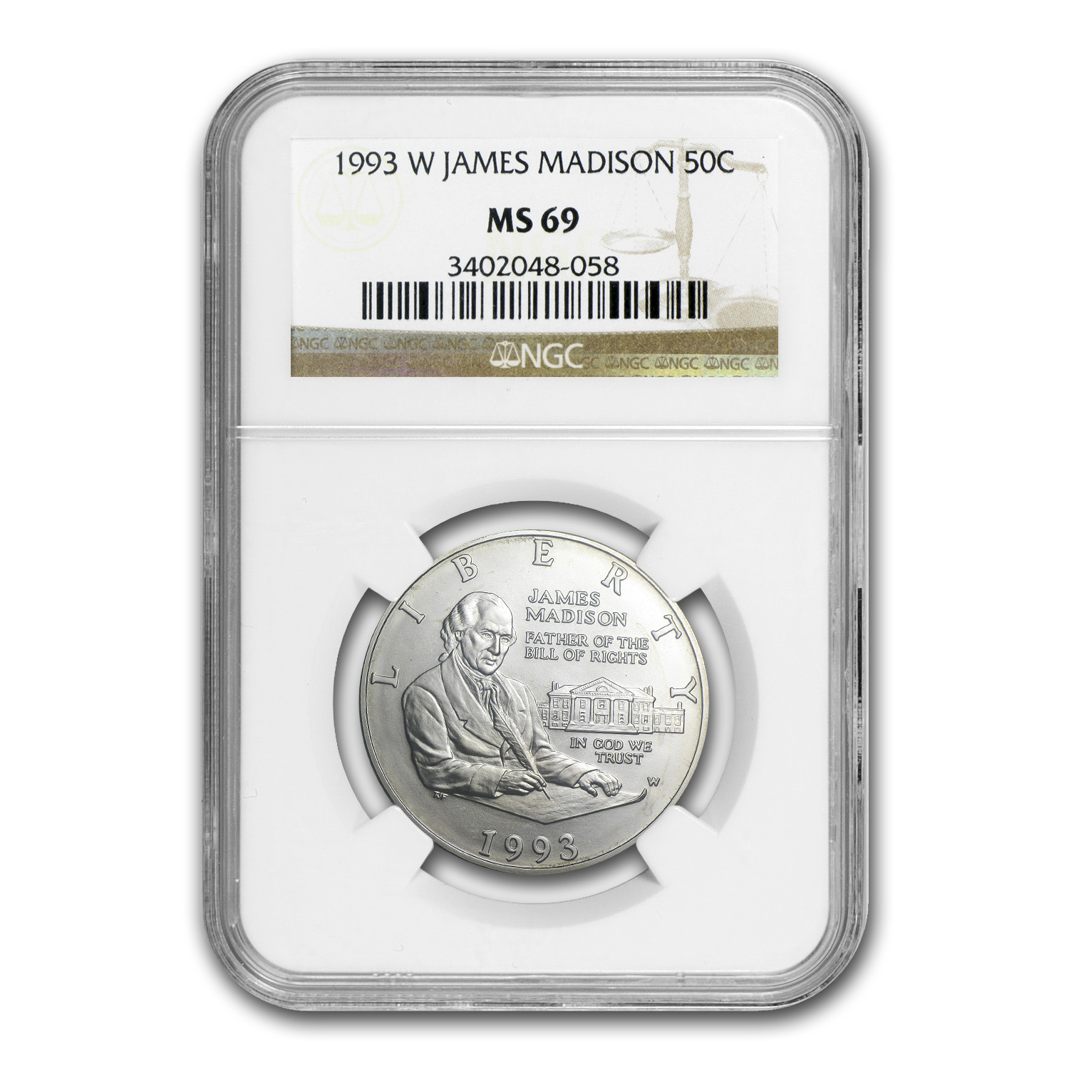 1993-W Bill of Rights Half Dollar Silver Commem MS-69 NGC