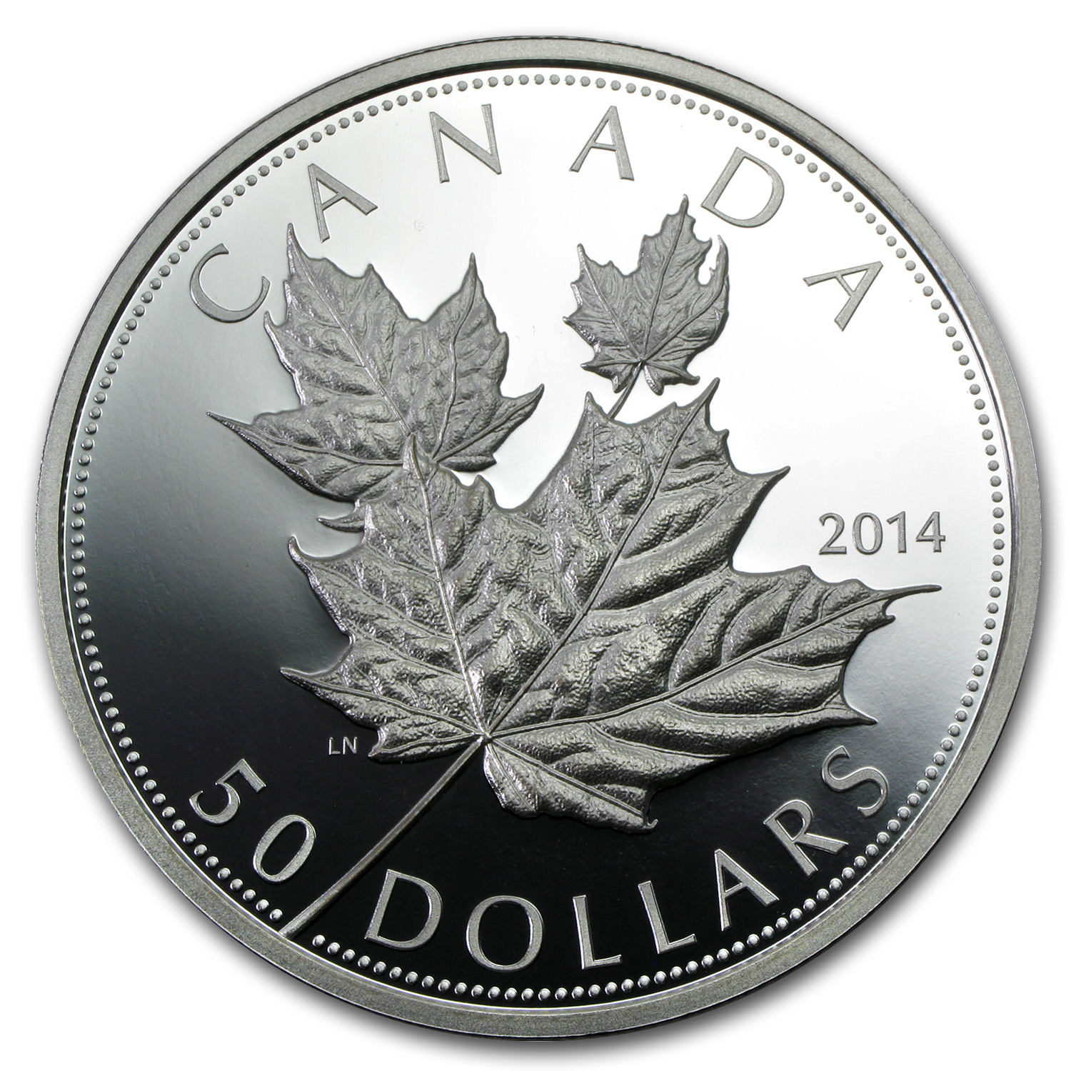 2014 5 oz Silver Proof Canadian Maple $50 (High Relief)