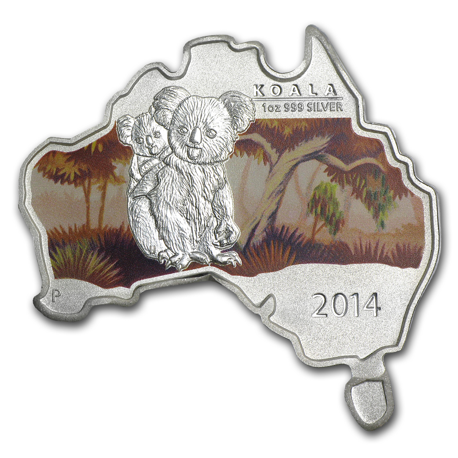 2014 Australia 1 oz Silver Koala BU (Map Shape)