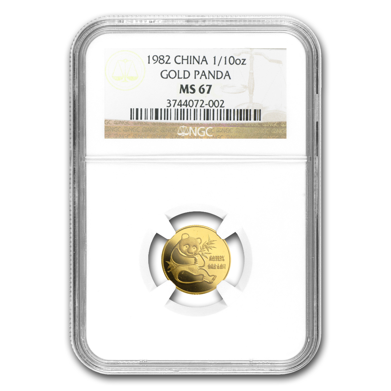 1982 (1/10 oz) Gold Chinese Pandas - MS-67 NGC