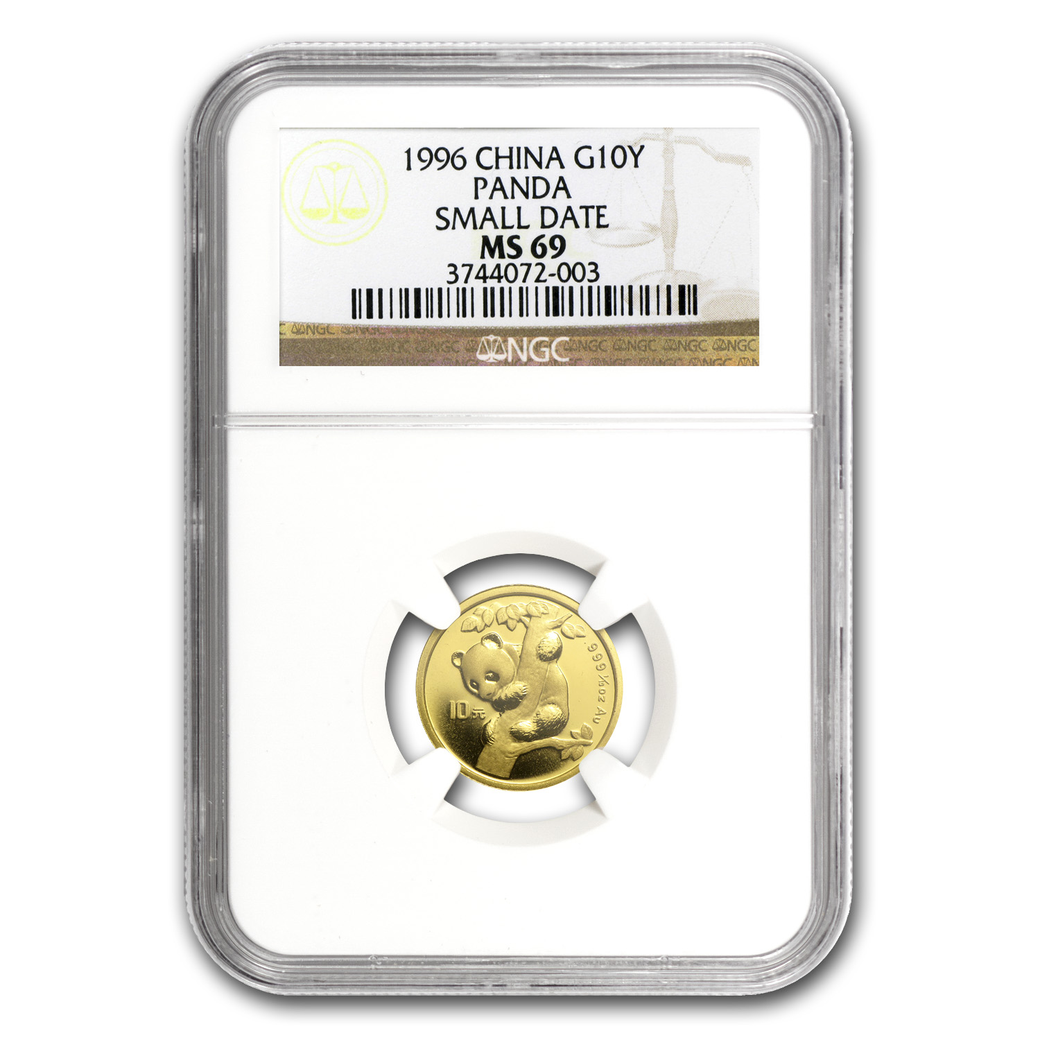 1996 China 1/10 oz Gold Panda Small Date MS-69 NGC