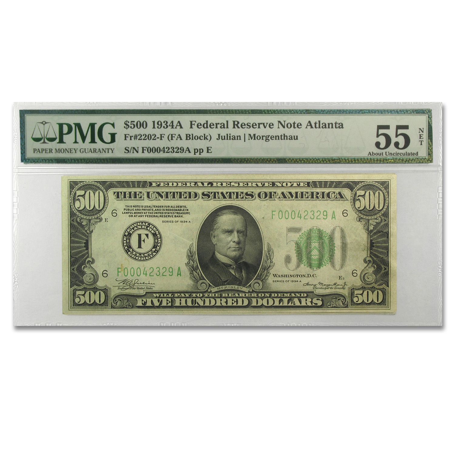 1934-A (F-Atlanta) $500 FRN (About Unc 55 Net-PMG)