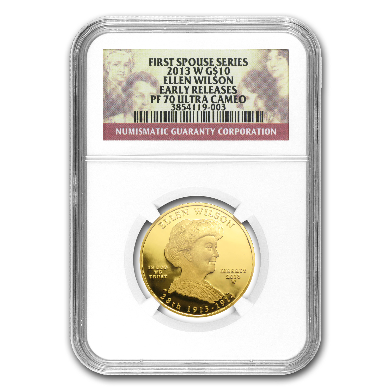 2013-W 1/2 oz Proof Gold Ellen Wilson PF-70 NGC (ER)