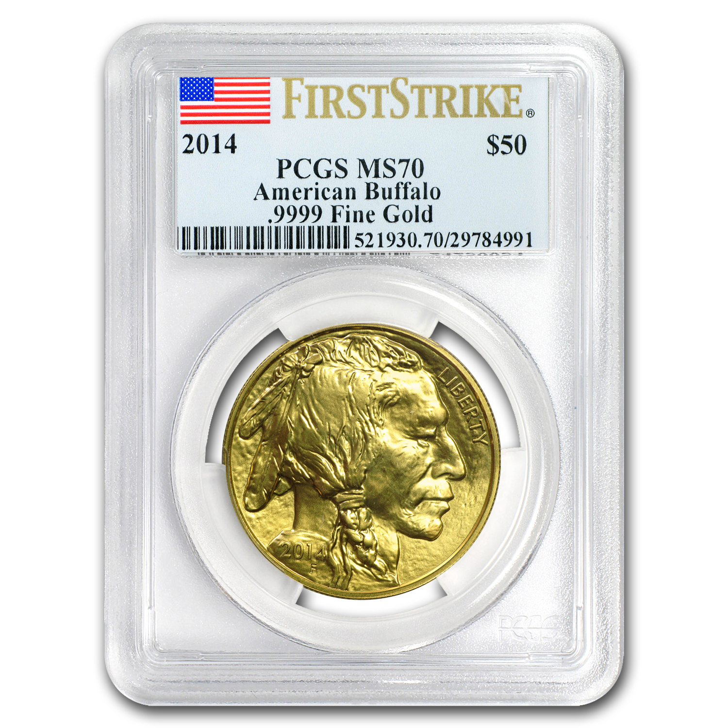 2014 1 oz Gold Buffalo MS-70 PCGS First Strike