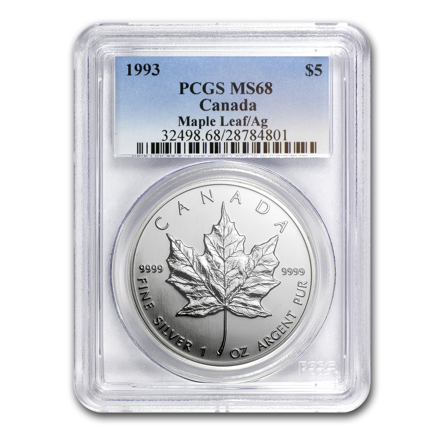 1993 1 oz Silver Canadian Maple Leaf MS-68 PCGS