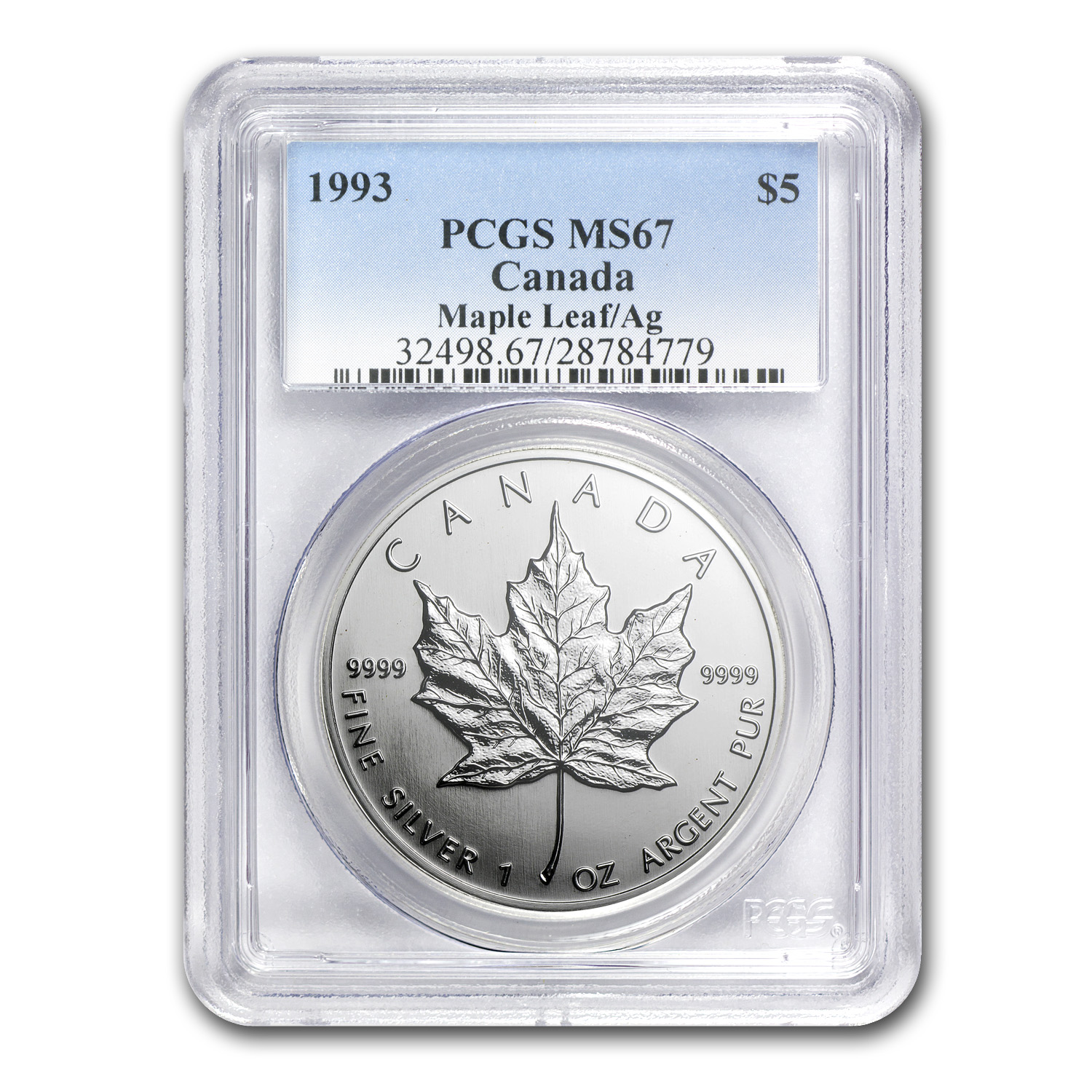 1993 1 oz Silver Canadian Maple Leaf MS-67 PCGS