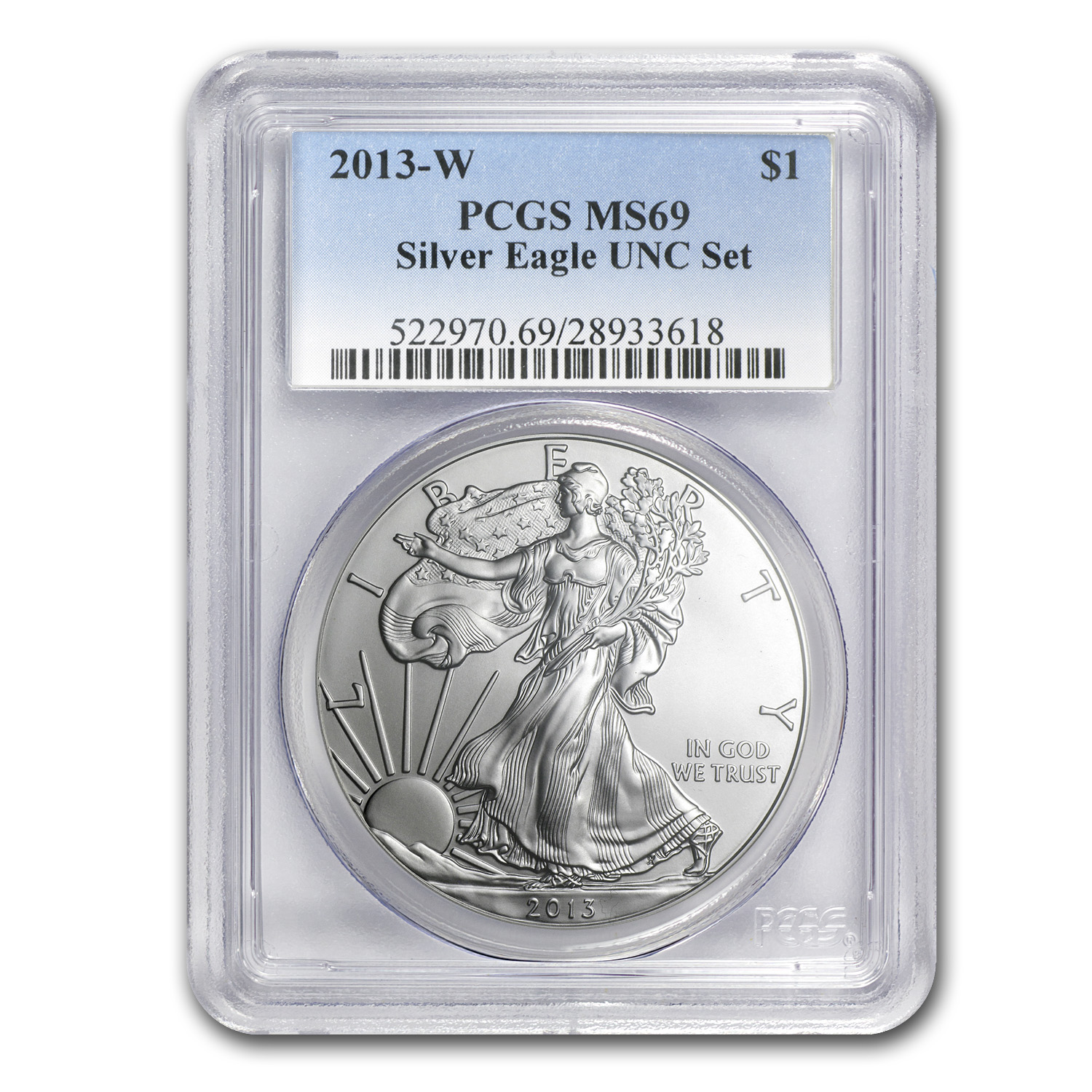 2013-W Burnished Silver American Eagle MS-69 PCGS (from Unc Set)