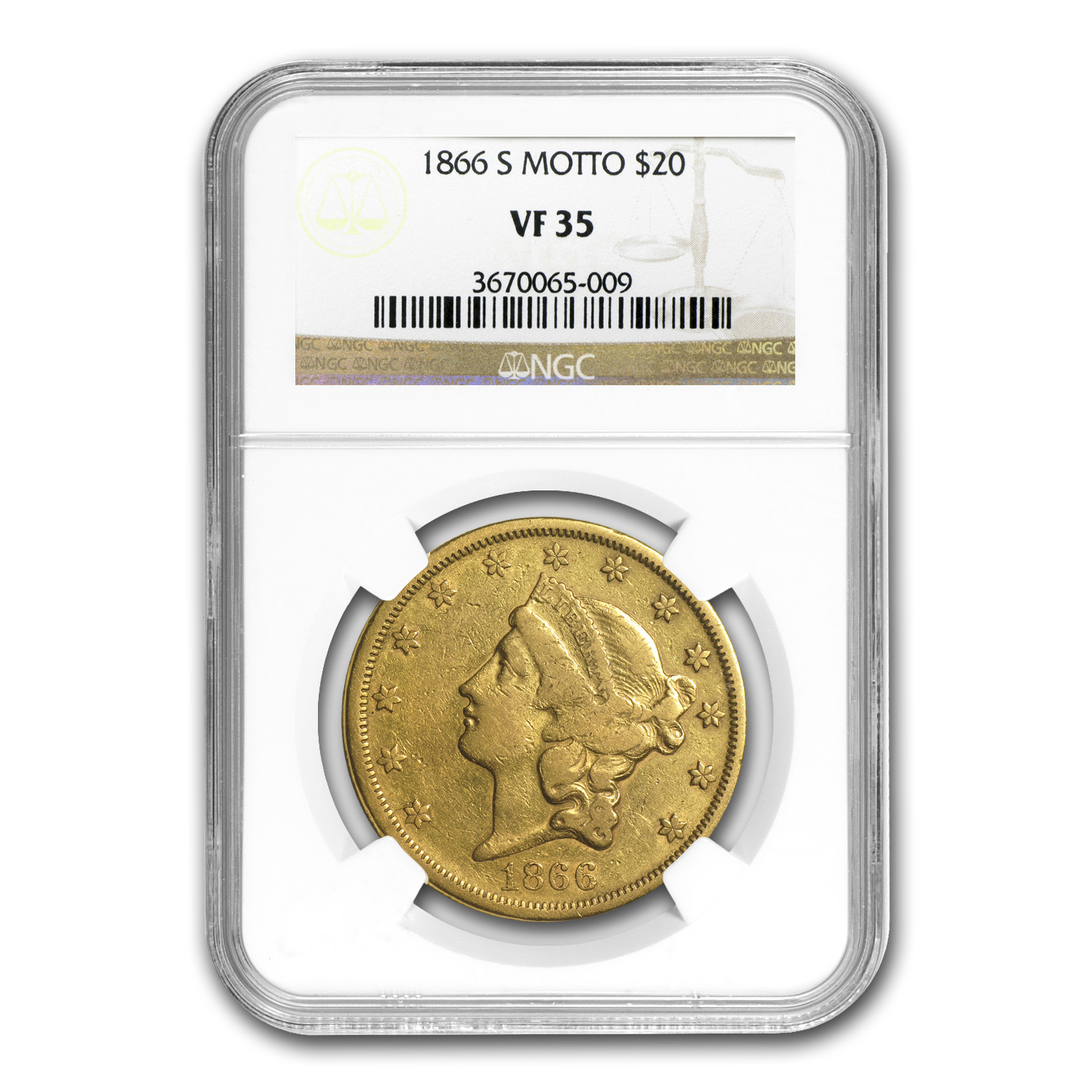 1866-S $20 Liberty Gold Double Eagle w/Motto VF-35 NGC