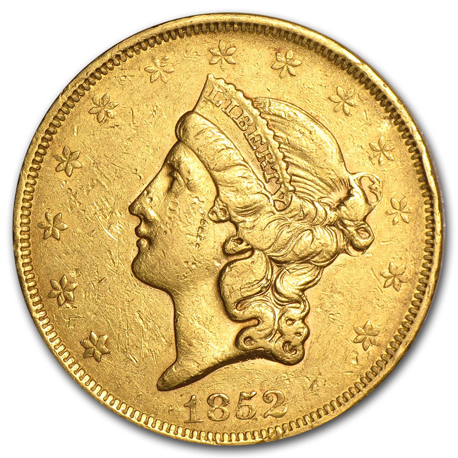 1852 $20 Liberty Gold Double Eagle XF Details (Cleaned)