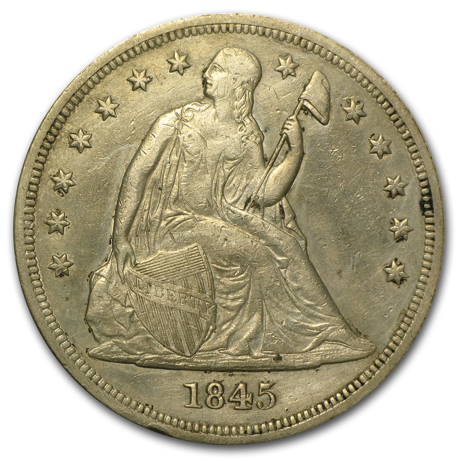 1845 Liberty Seated Dollar AU Details (Cleaned)