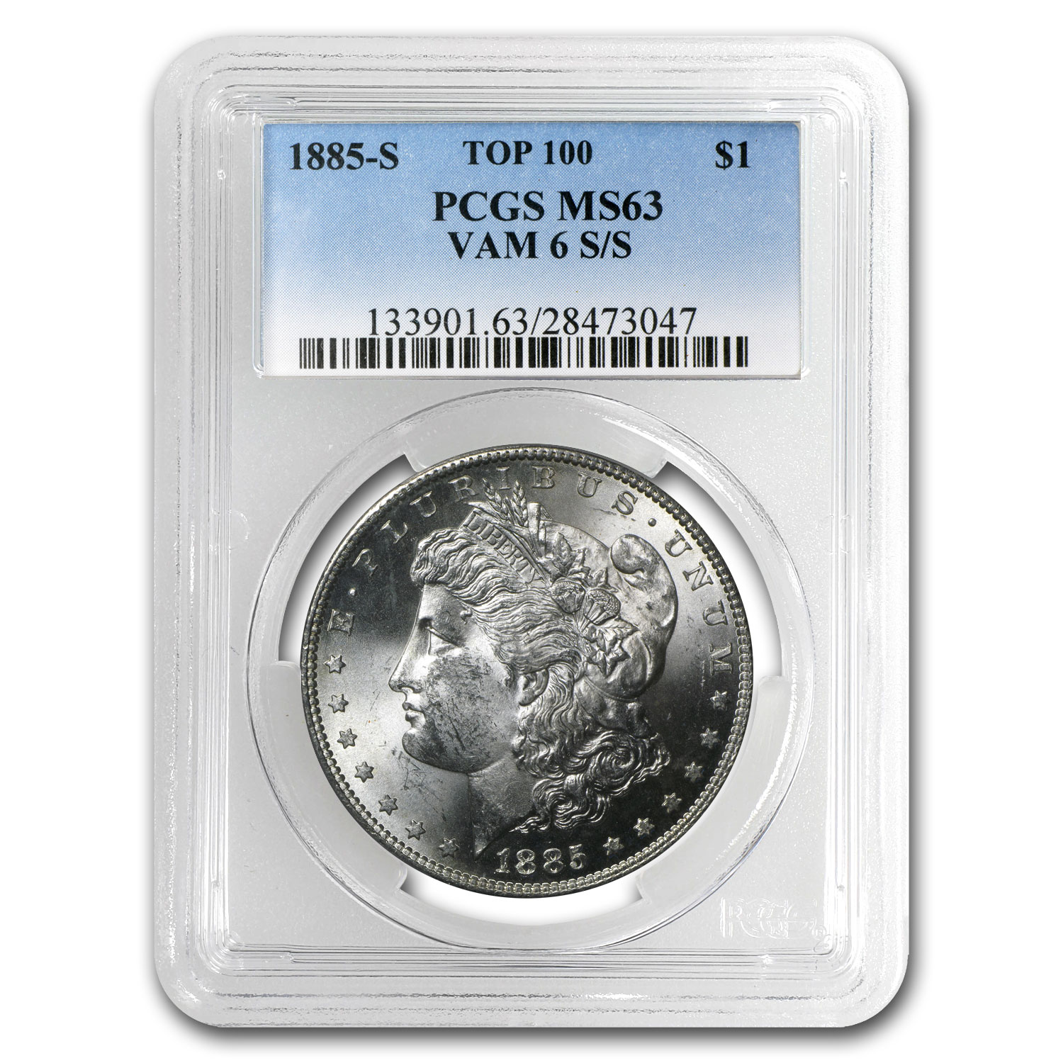 1885-S Morgan Dollar MS-63 PCGS (VAM-6, S Over S, Top-100)