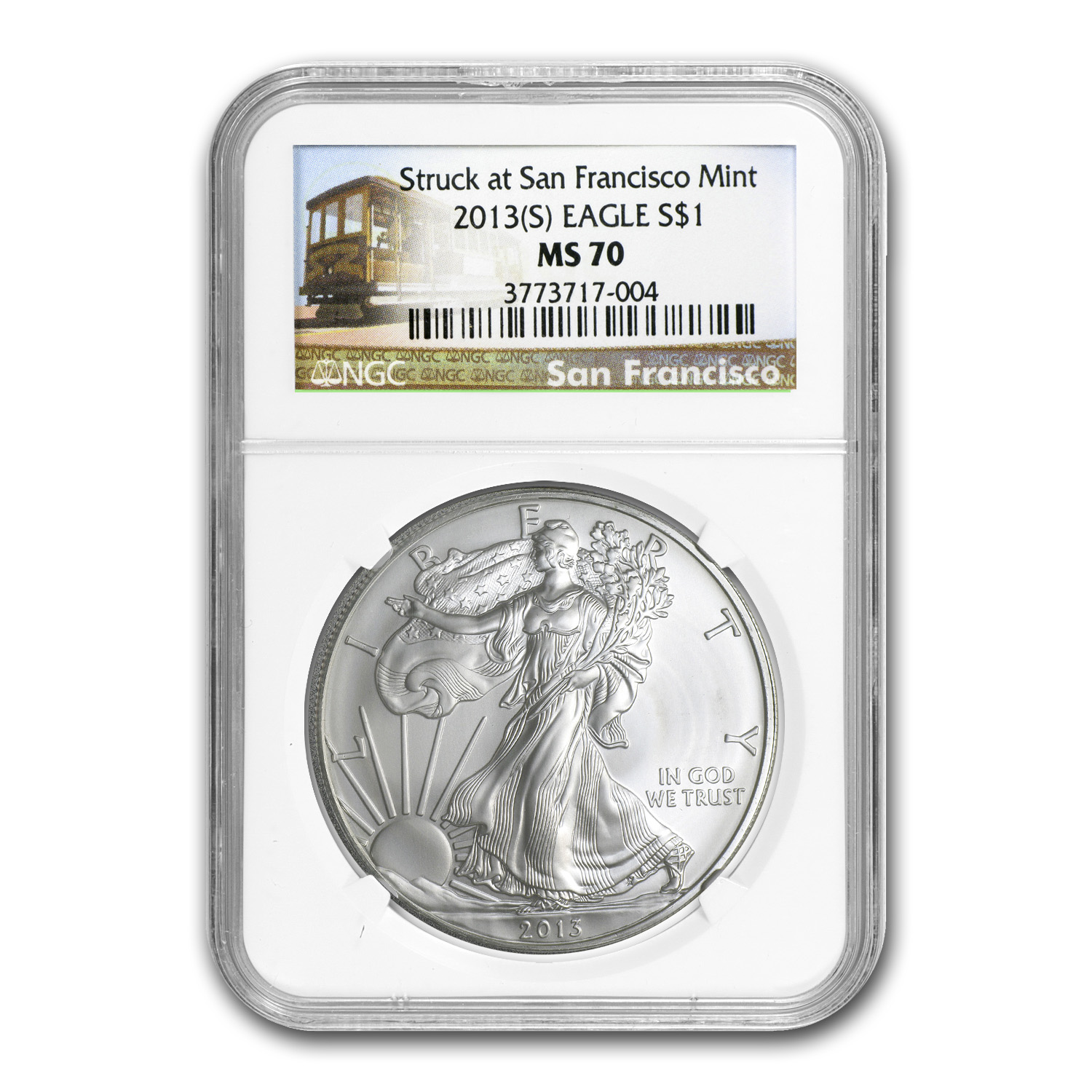 2013 (S) Silver American Eagle - MS-70 NGC - Trolley Label