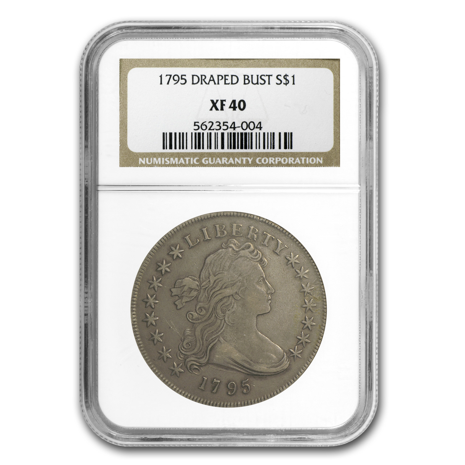 1795 Draped Bust Dollar Centered Bust XF-40 NGC