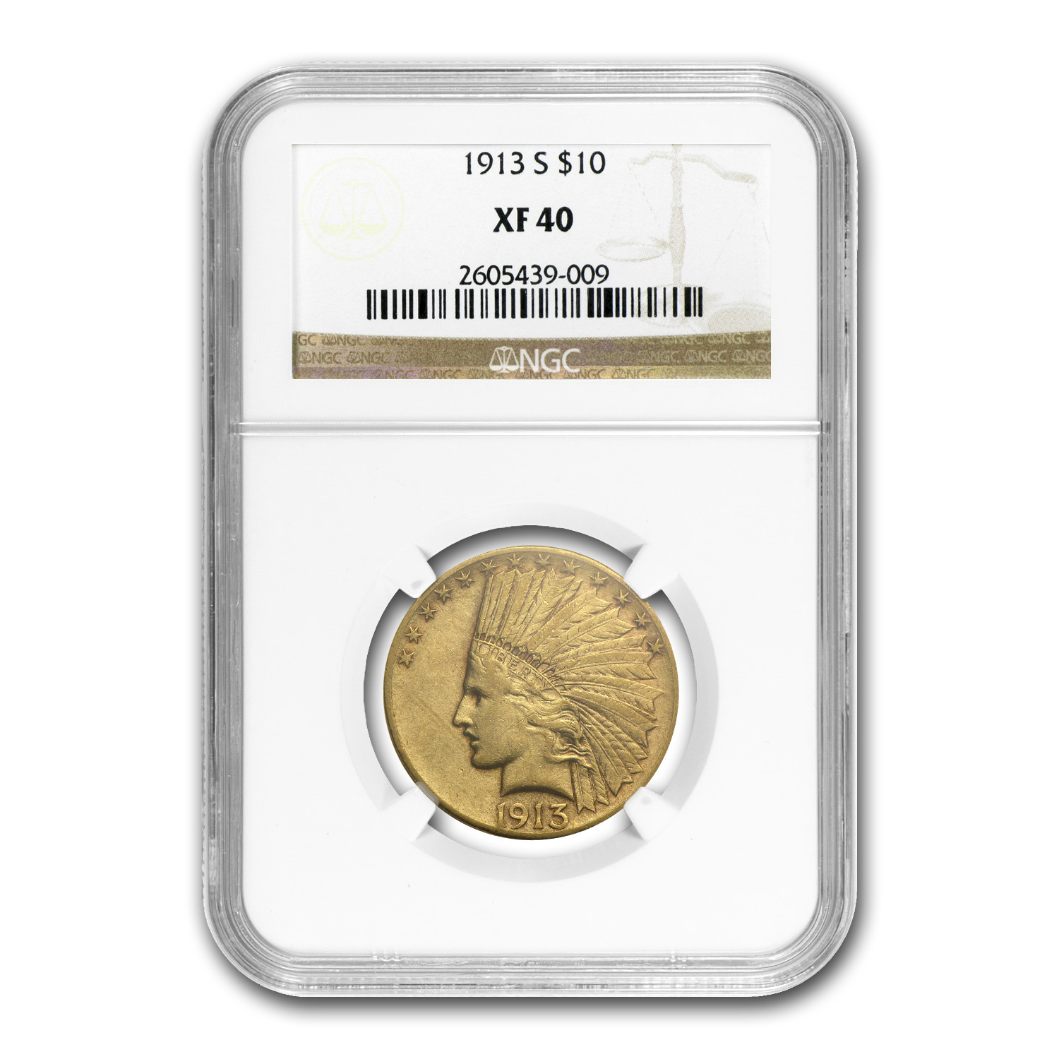 1913-S $10 Indian Gold Eagle XF-40 NGC