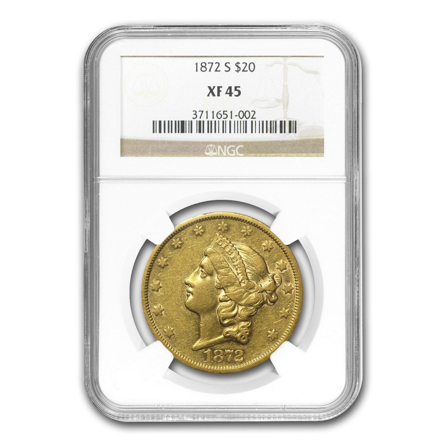 1872-S $20 Liberty Gold Double Eagle XF-45 NGC