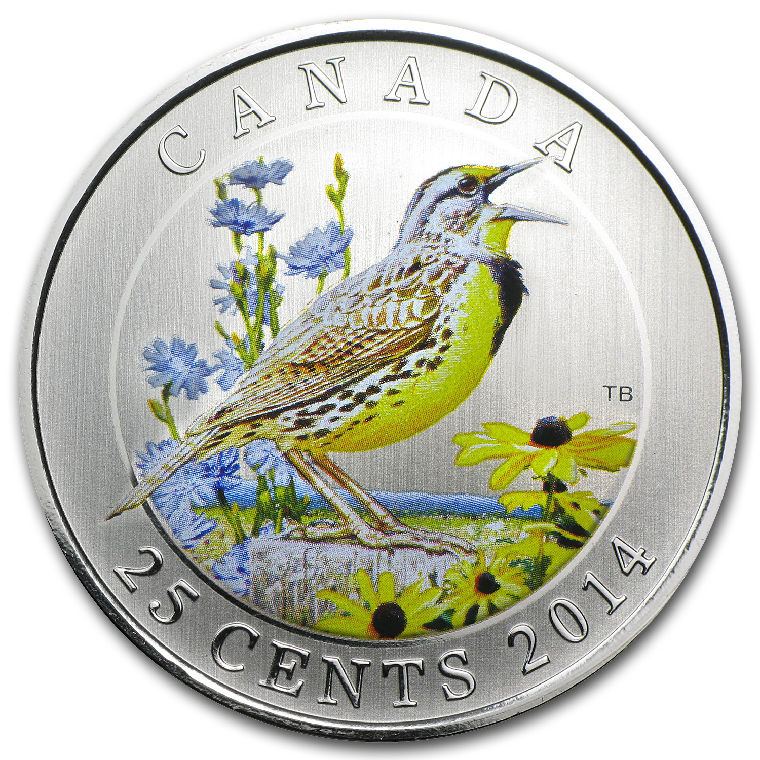 2014 Birds of Canada $0.25 Eastern Meadowlark (Colored)