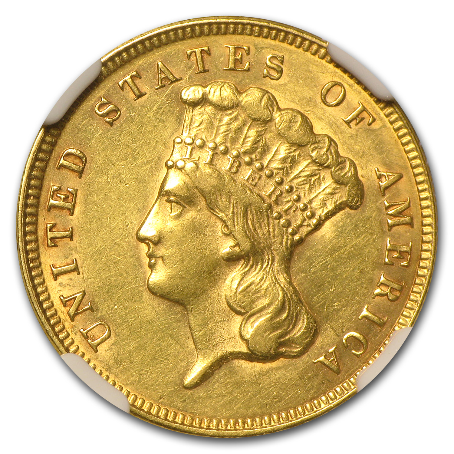 1874 $3 Gold Princess - Unc Details NGC - (Cleaned)