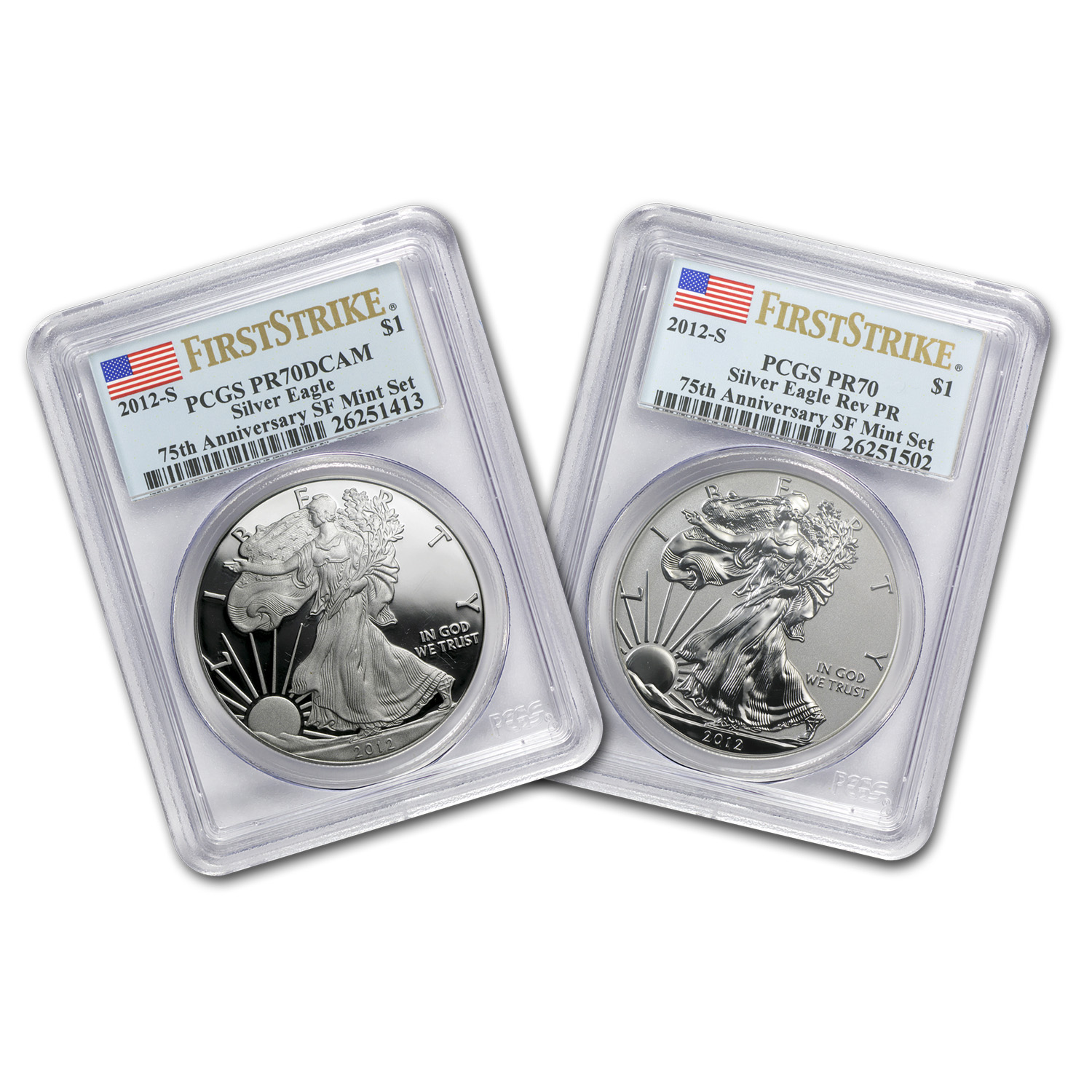 2012-S 2-Coin Silver Eagle Set PR-70 PCGS (FS, Flag Label)