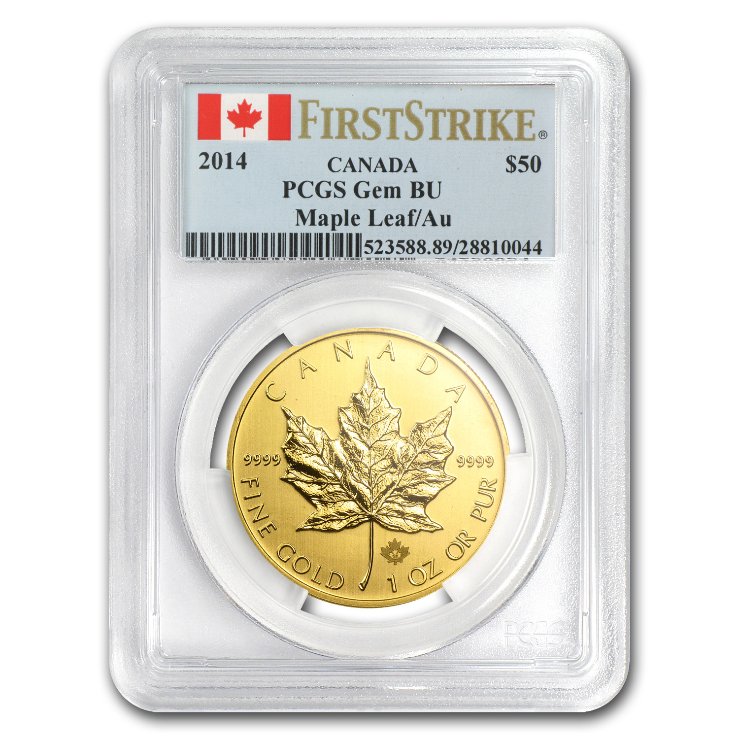 2014 1 oz Gold Canadian Maple Leaf - Gem BU PCGS First Strike