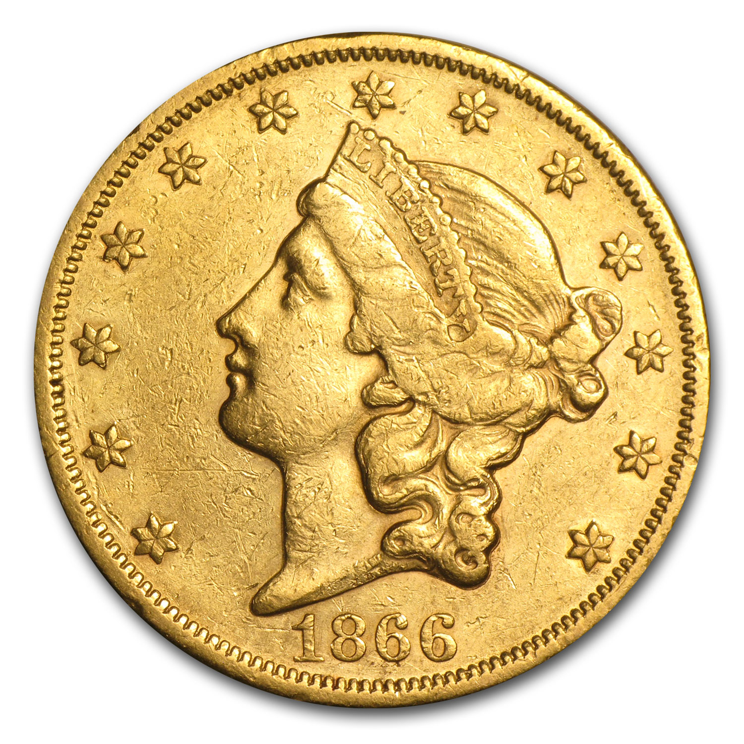 1866 $20 Liberty Gold Double Eagle Extra Fine