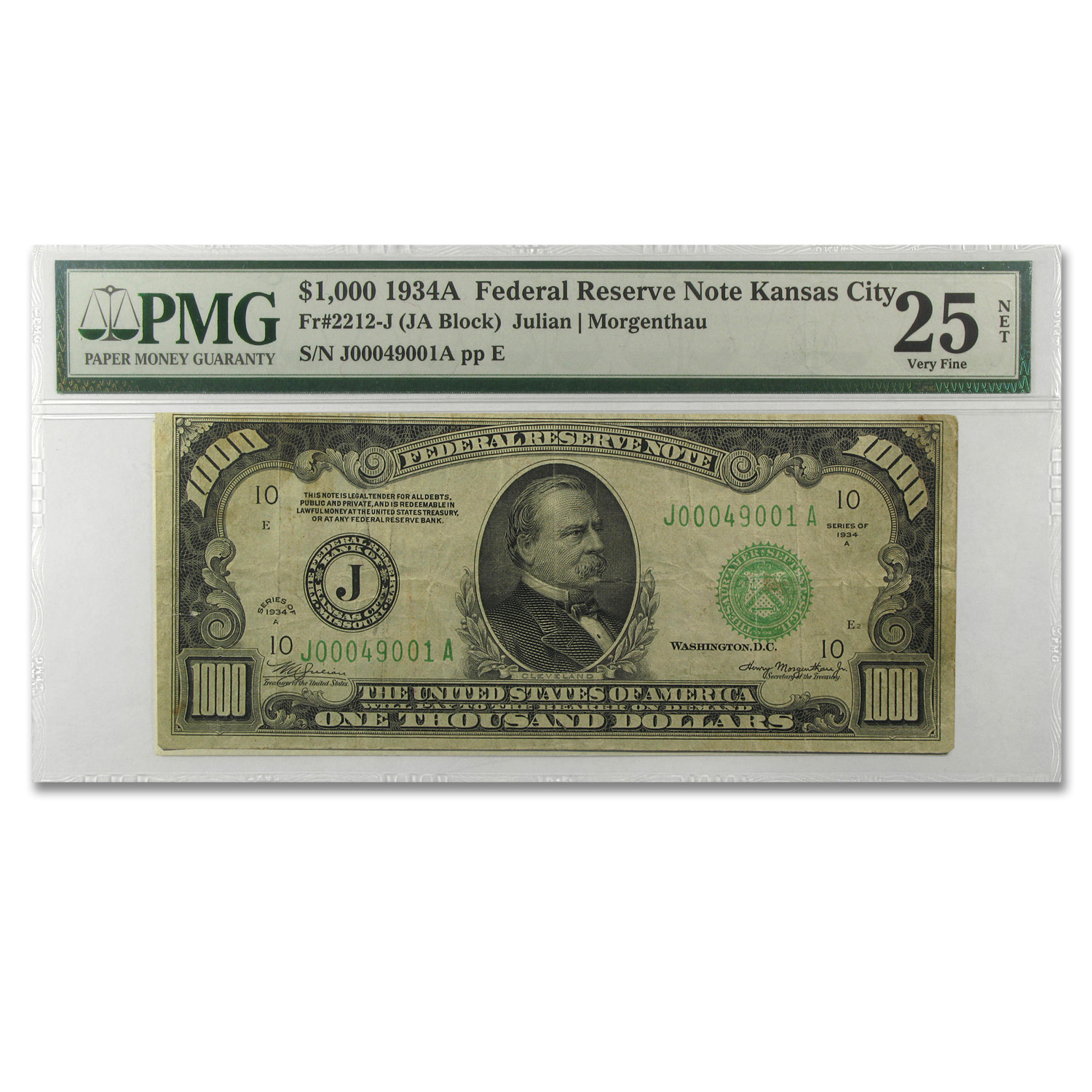 1934-A (J-Kansas City) $1,000 FRN PMG (Very Fine) 25 Net)