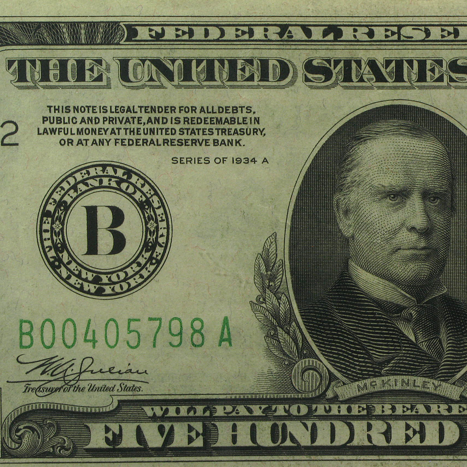 1934-A (B-New York) $500 FRN PMGS Extremely Fine 40 PPQ)