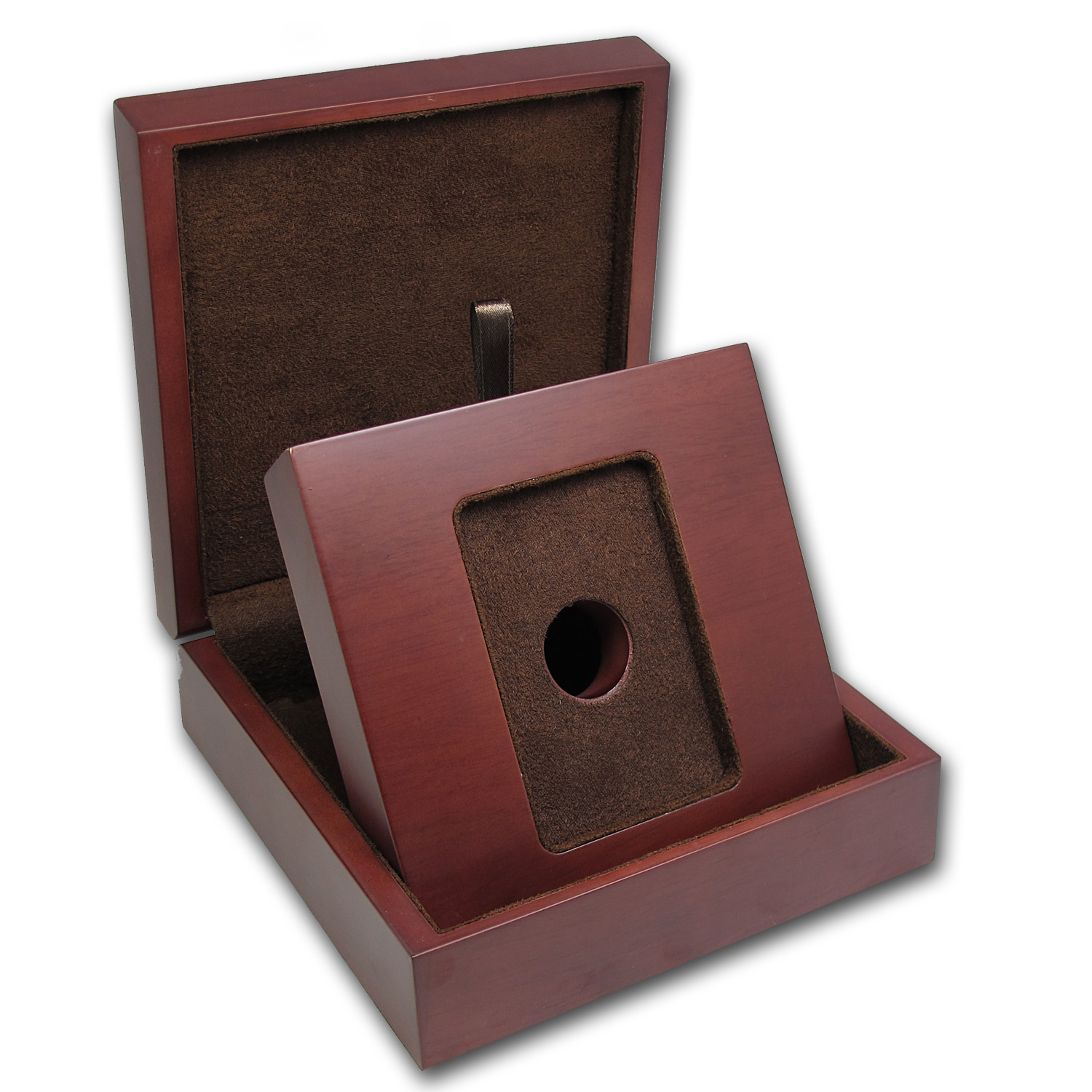 APMEX Wood Presentation Box - 1 oz APMEX Gold Bar in TEP