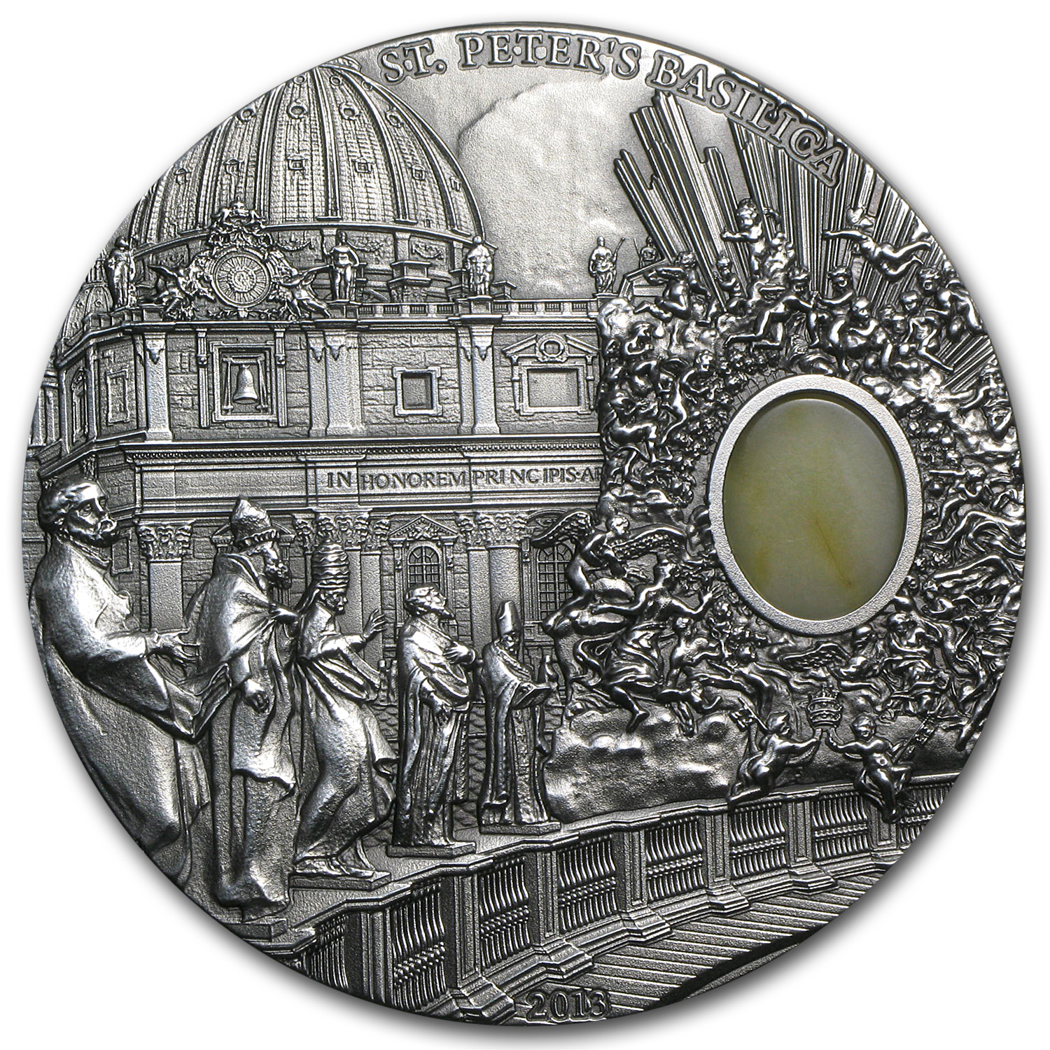 2013 Palau 2 oz Silver Mineral Art Amber St. Peter's Basilica