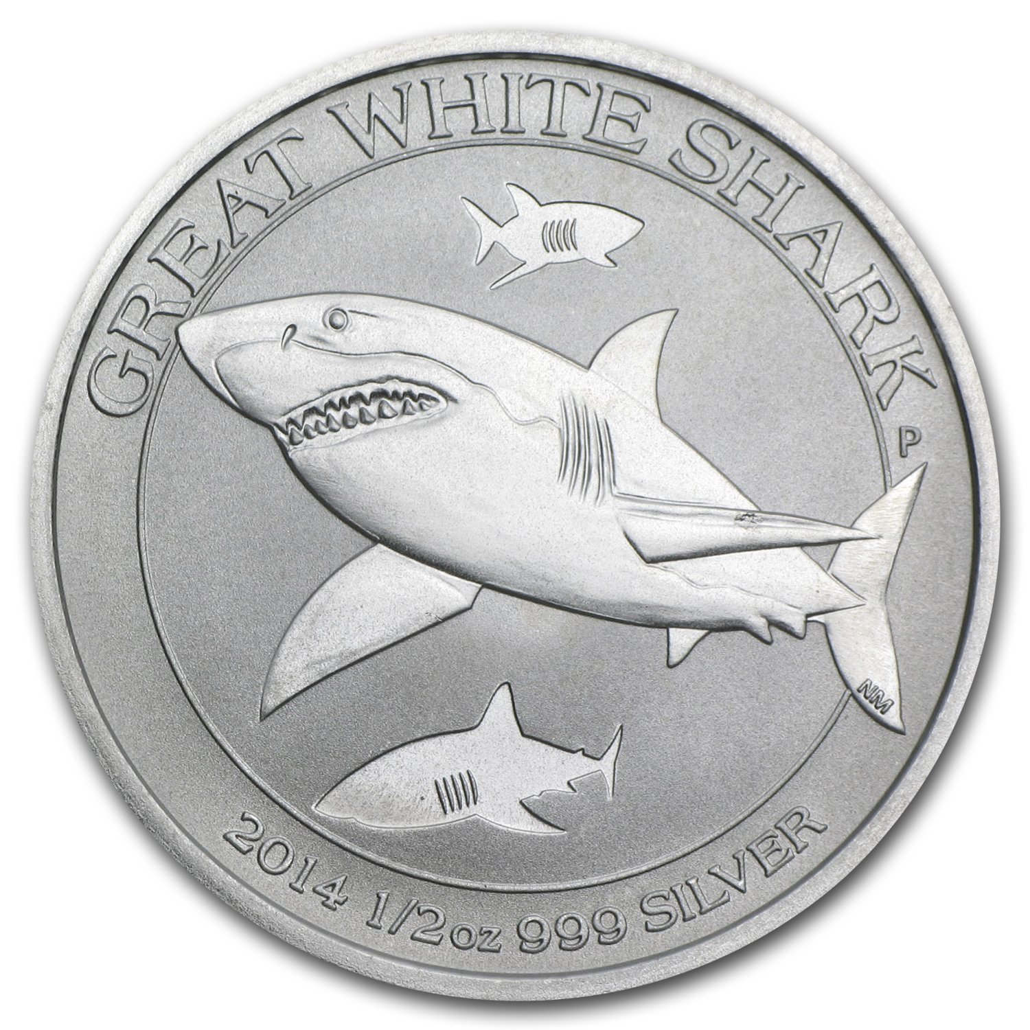2014 Australia 1/2 oz Silver Great White Shark BU
