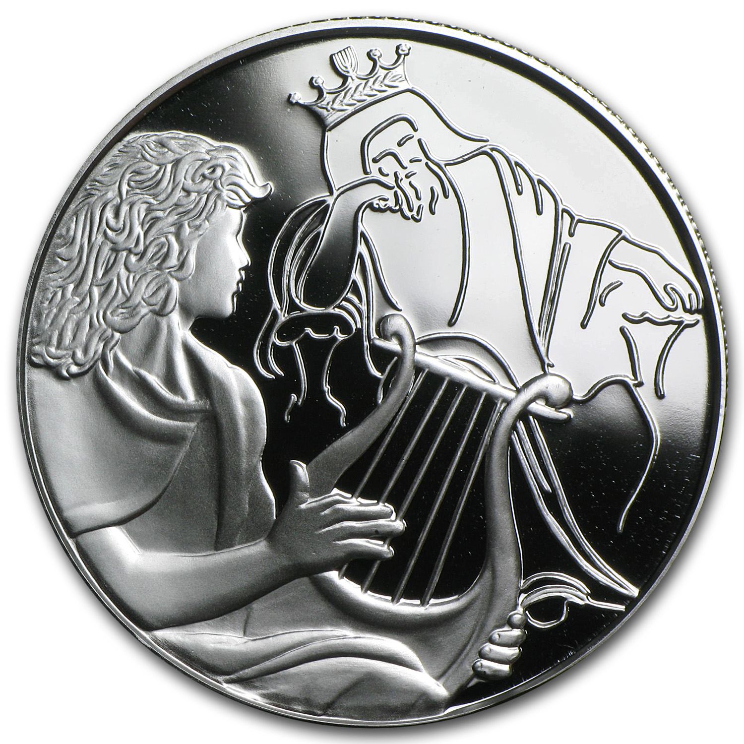 2013 Israel 1 oz Silver 2 NIS David Playing for Saul Proof