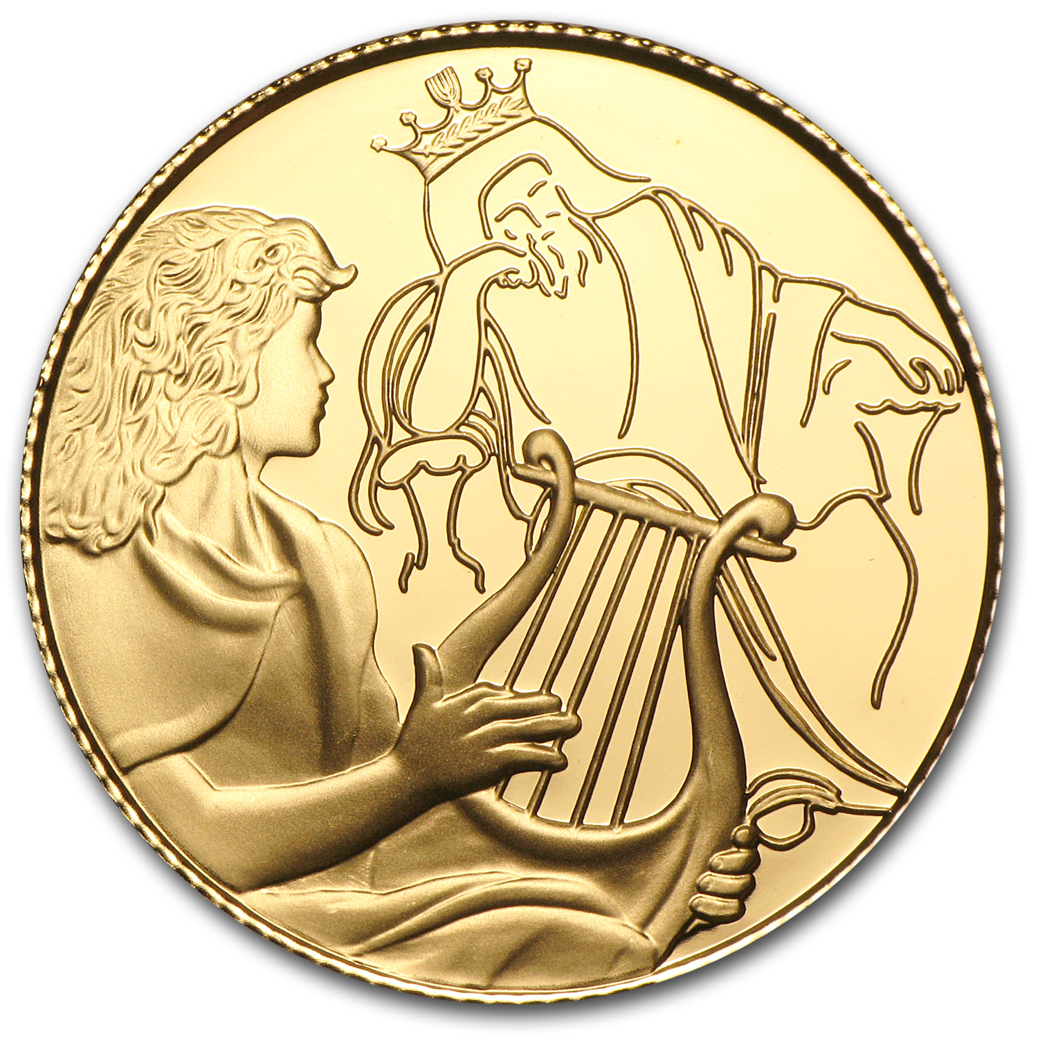2013 Israel 1/2 oz Proof Gold David Playing for Saul